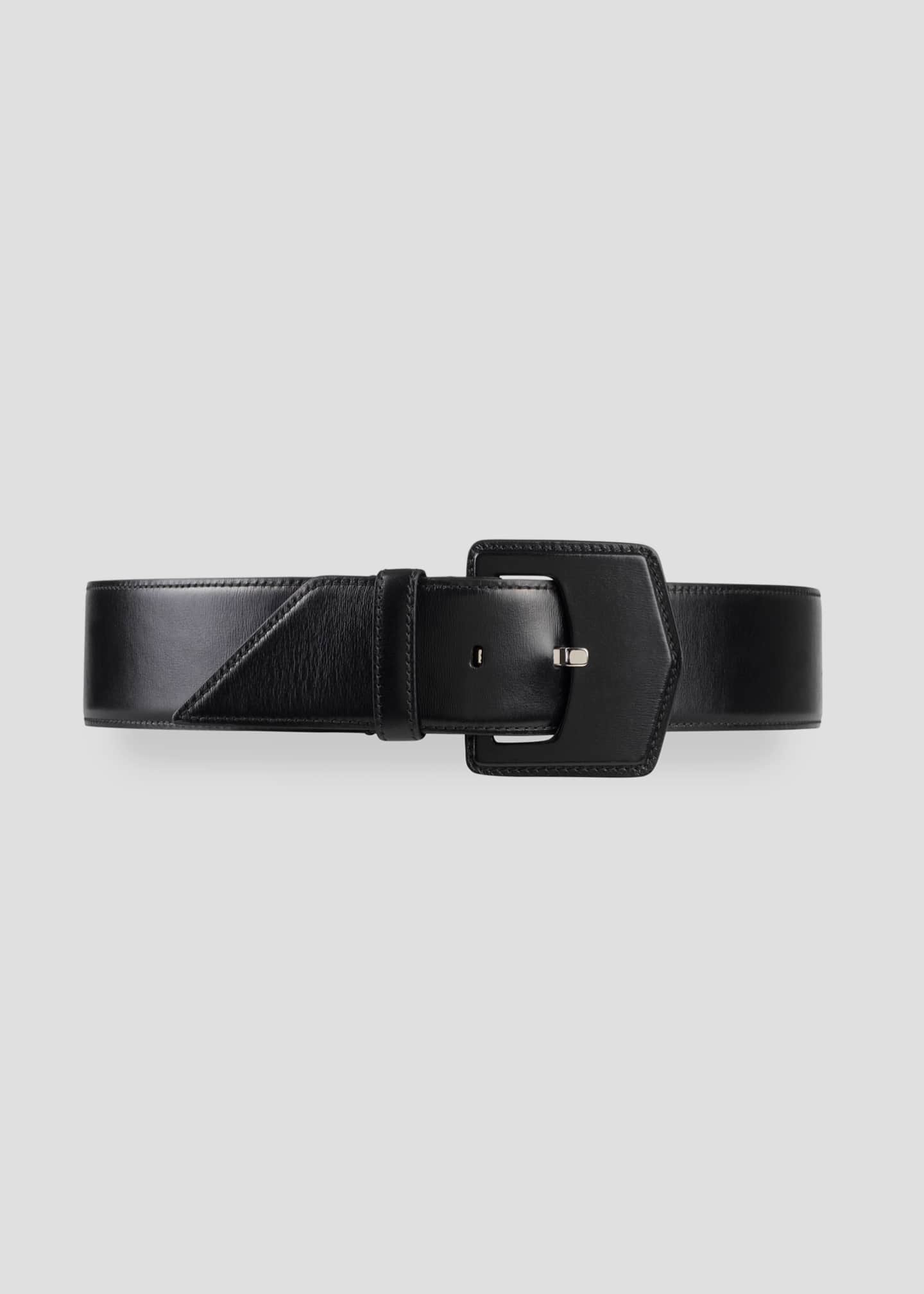 Image 1 of 3: Geometric Buckle Leather Belt