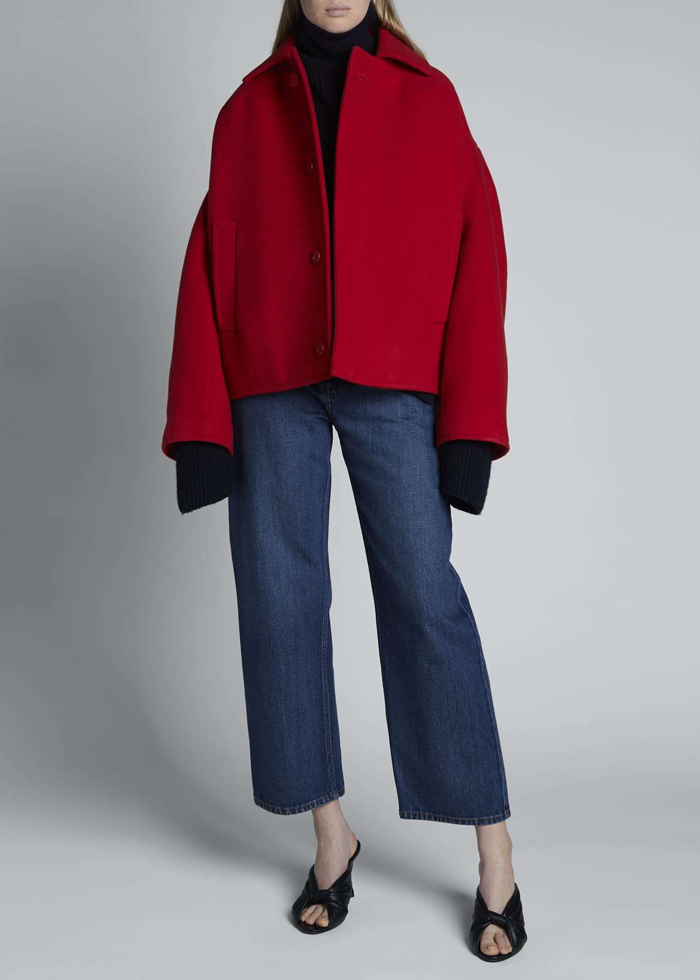 Image 5 of 5: Upside Down Wool-Cashmere Peacoat