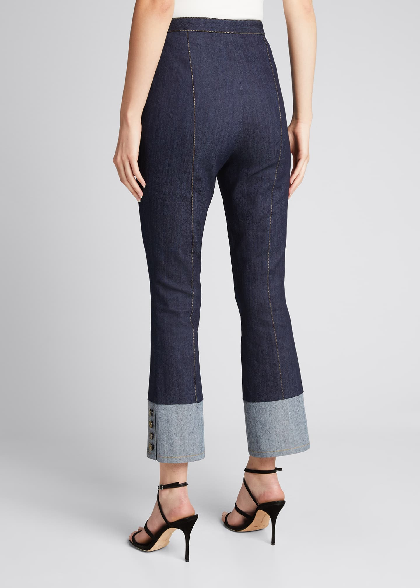 Image 2 of 5: Sheena Button-Cuff Cropped Denim Pants