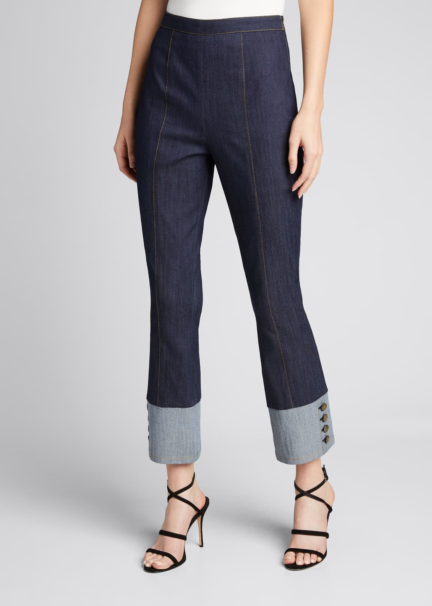 Image 3 of 5: Sheena Button-Cuff Cropped Denim Pants