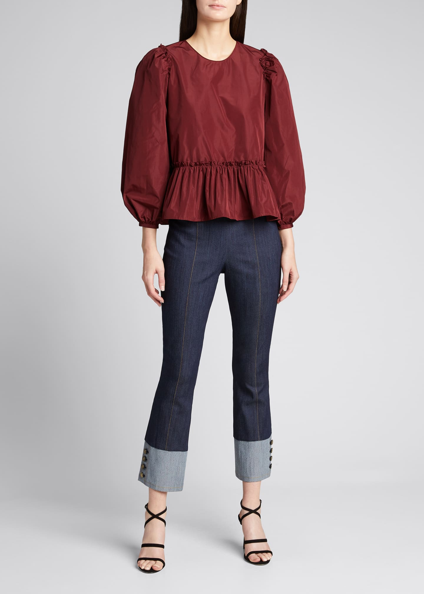Image 1 of 5: Sheena Button-Cuff Cropped Denim Pants