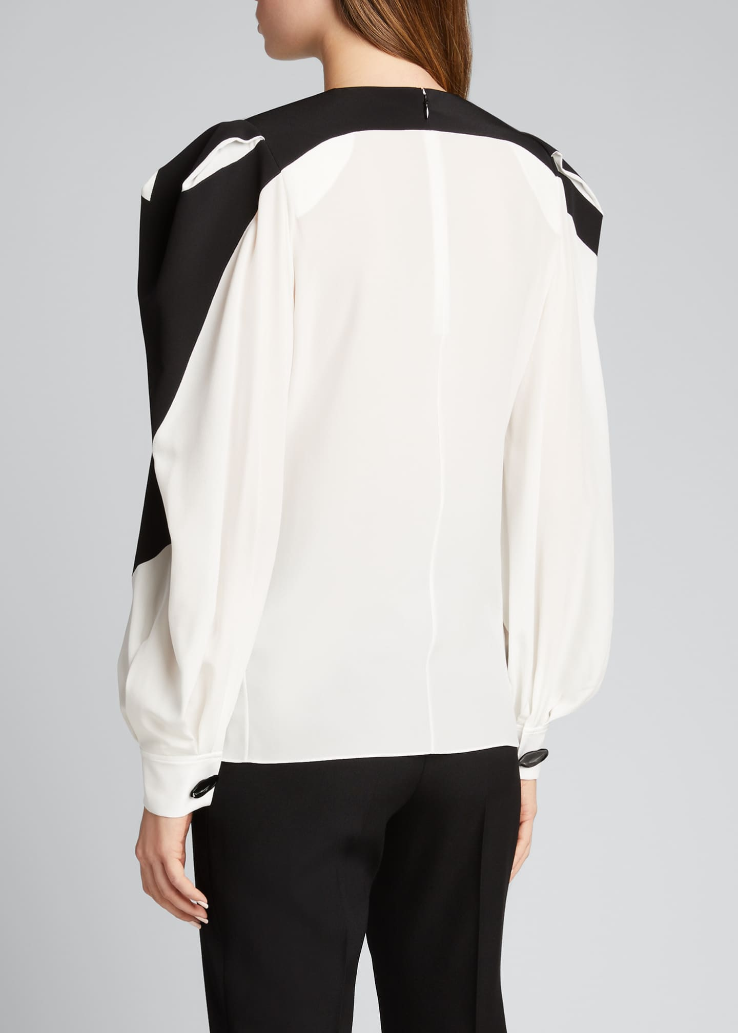 Image 2 of 5: Bonded Graphic Silk Puff-Sleeve Blouse