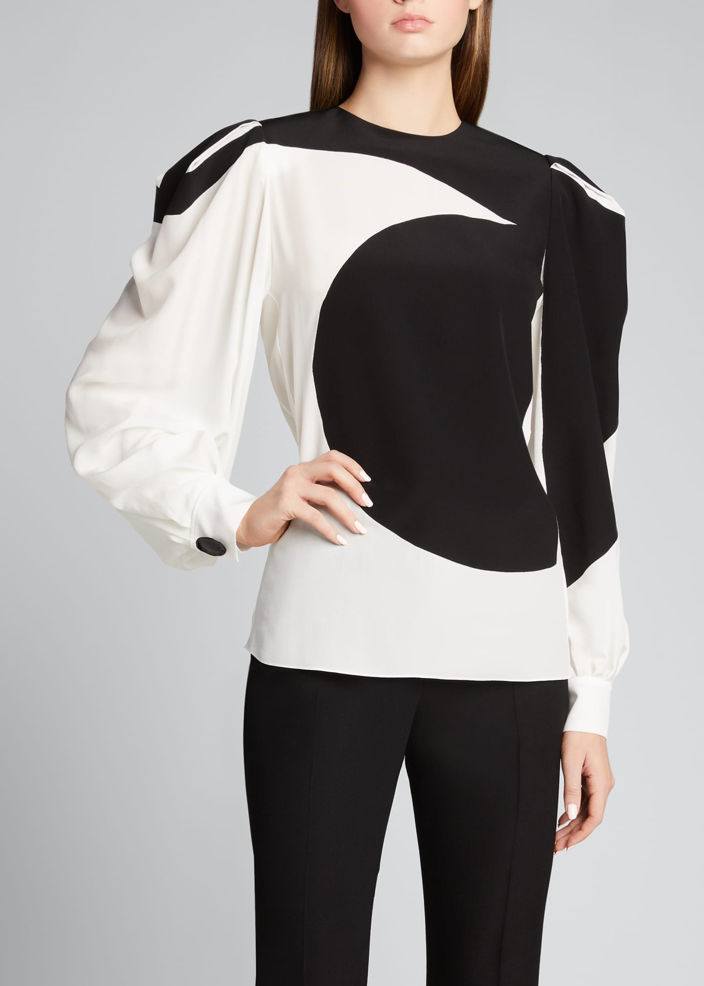 Image 3 of 5: Bonded Graphic Silk Puff-Sleeve Blouse