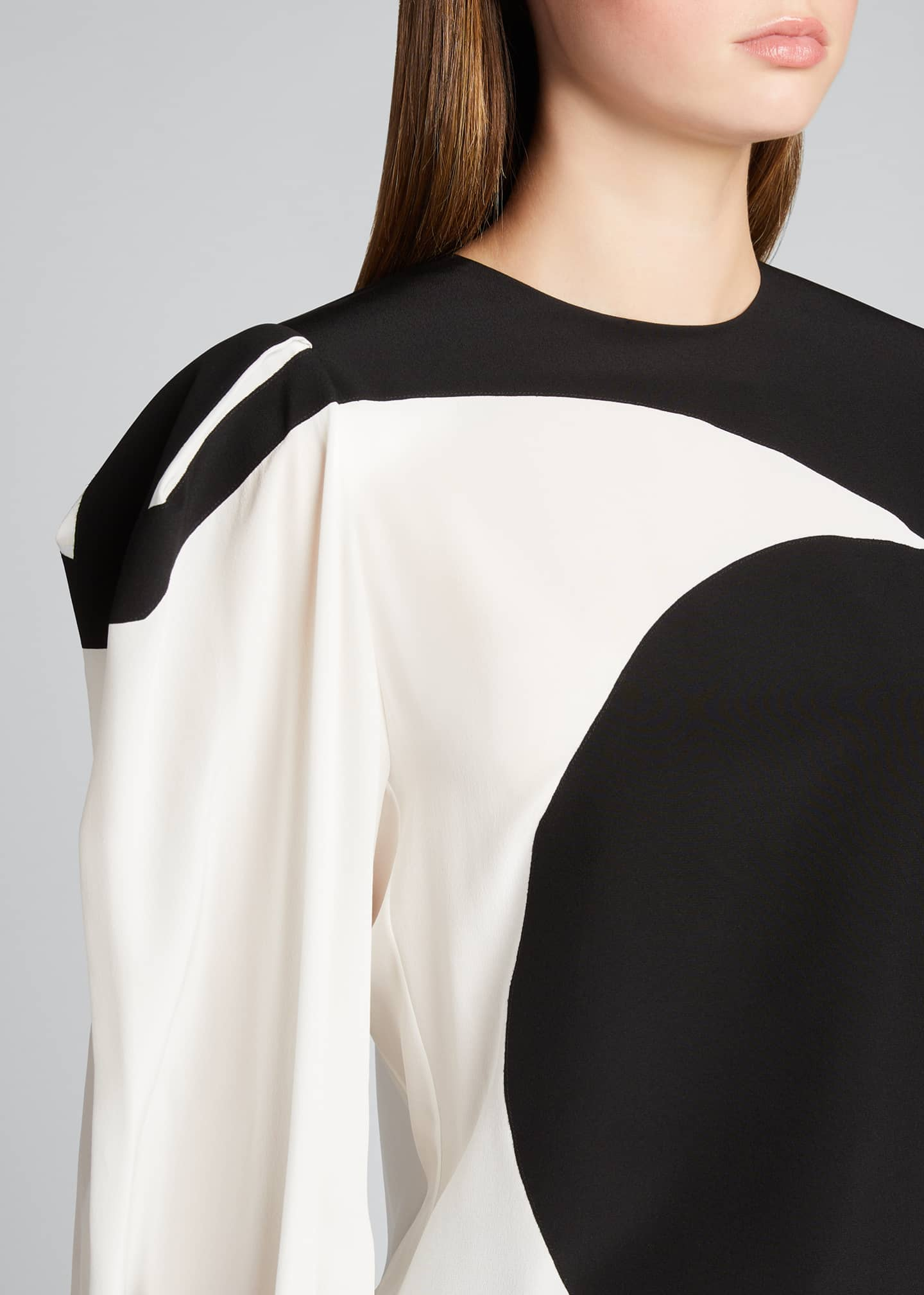 Image 4 of 5: Bonded Graphic Silk Puff-Sleeve Blouse