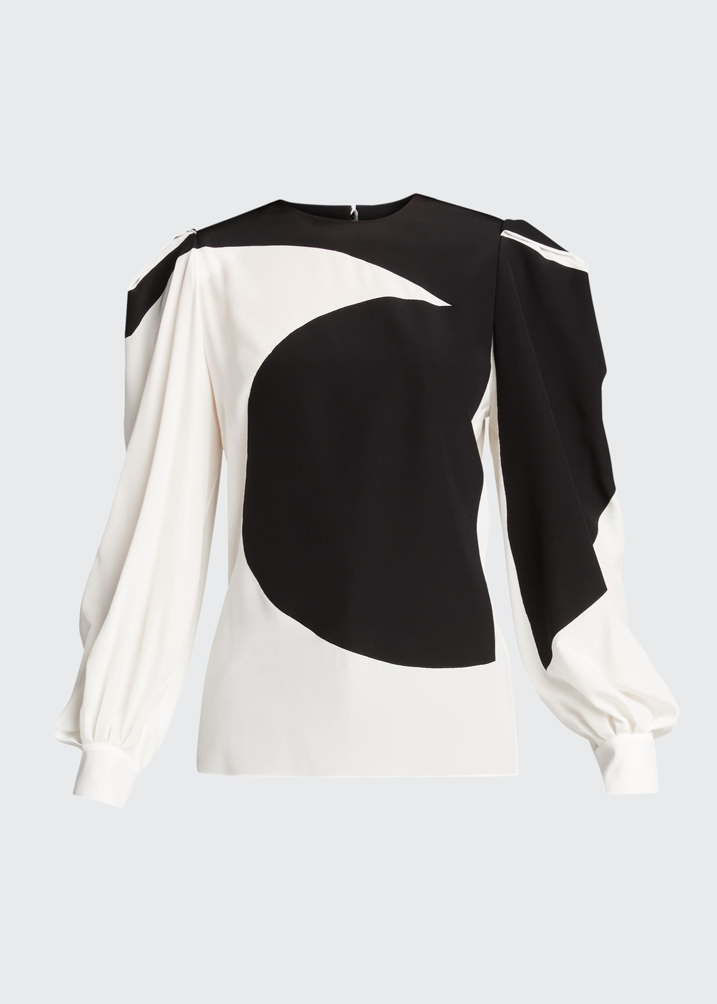 Image 5 of 5: Bonded Graphic Silk Puff-Sleeve Blouse