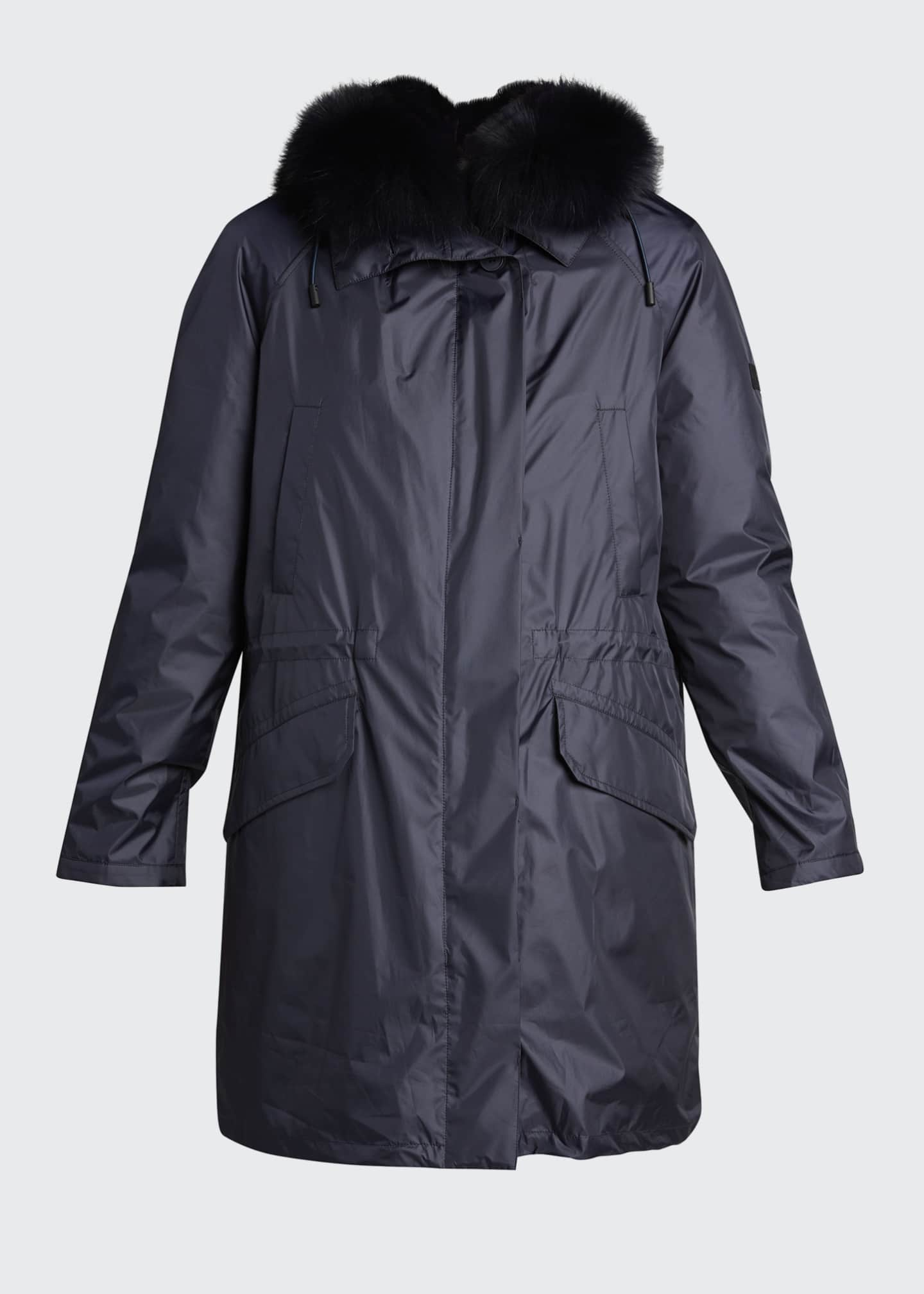 Image 5 of 5: Technical Fabric Parka with Fox Trim and Rabbit Lining