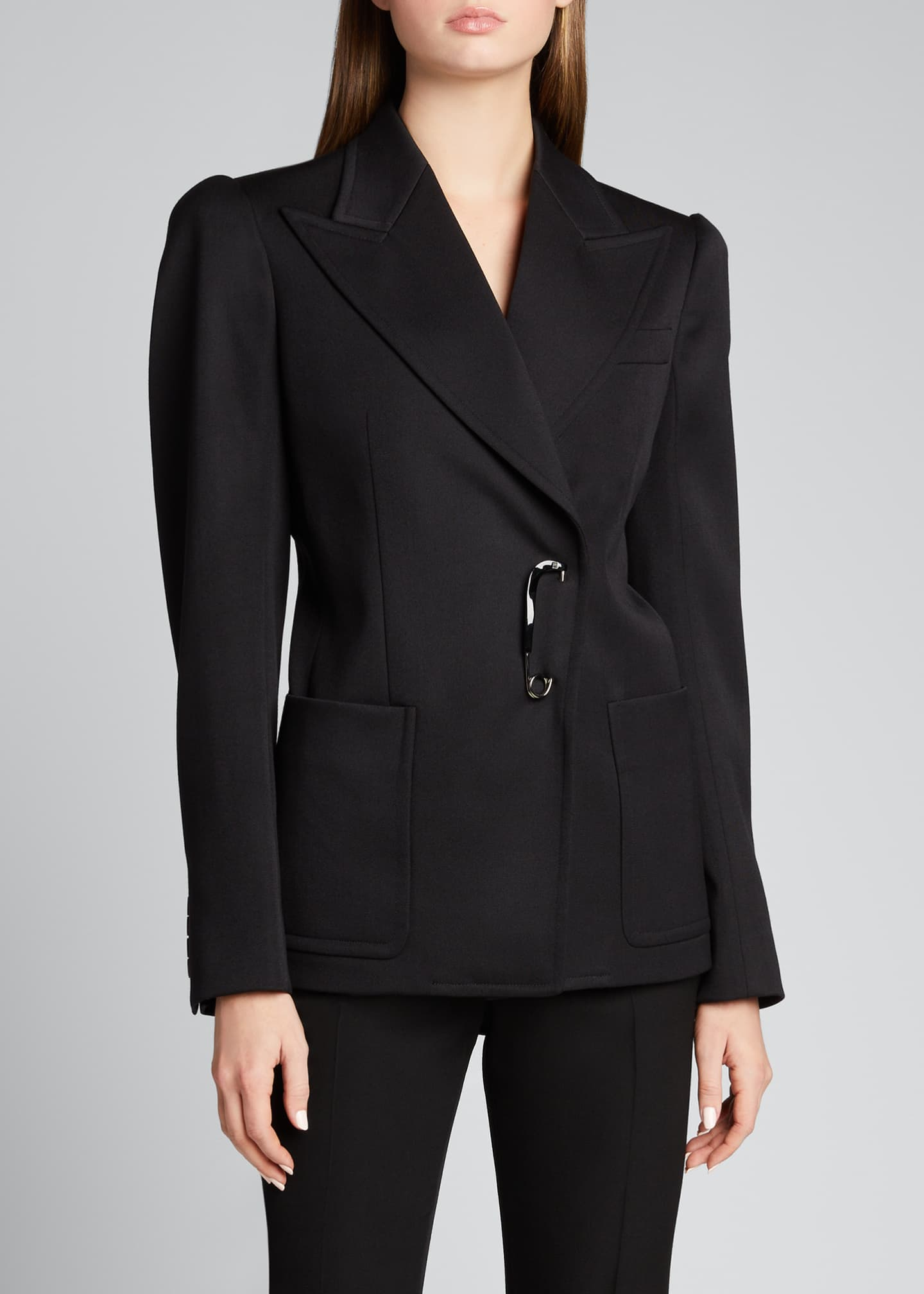 Image 3 of 5: Peak-Lapel Wool Blazer with Safety Pin Closure