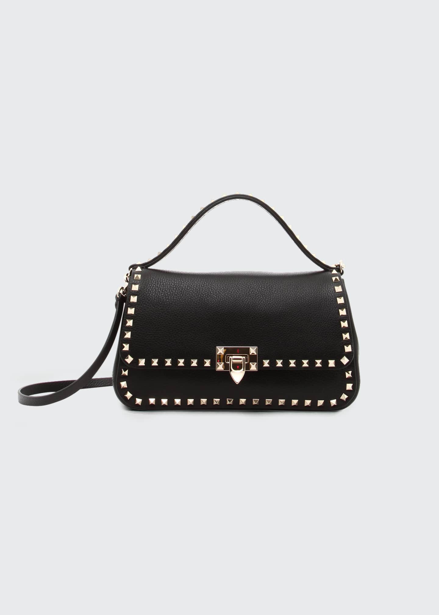 Image 1 of 1: Medium Rockstud Leather Top-Handle Bag