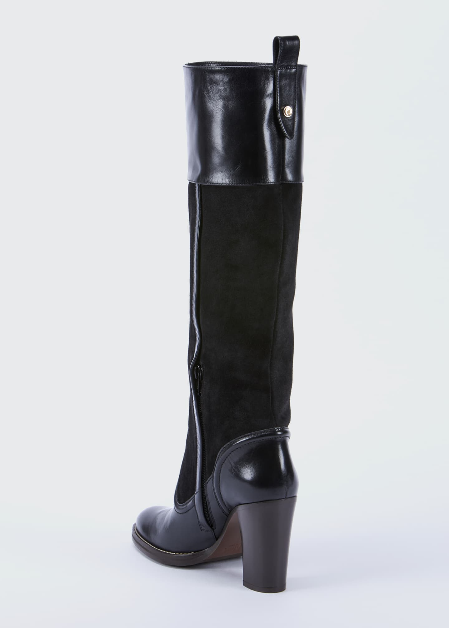 Image 3 of 4: Emma Mixed Leather Tall Boots