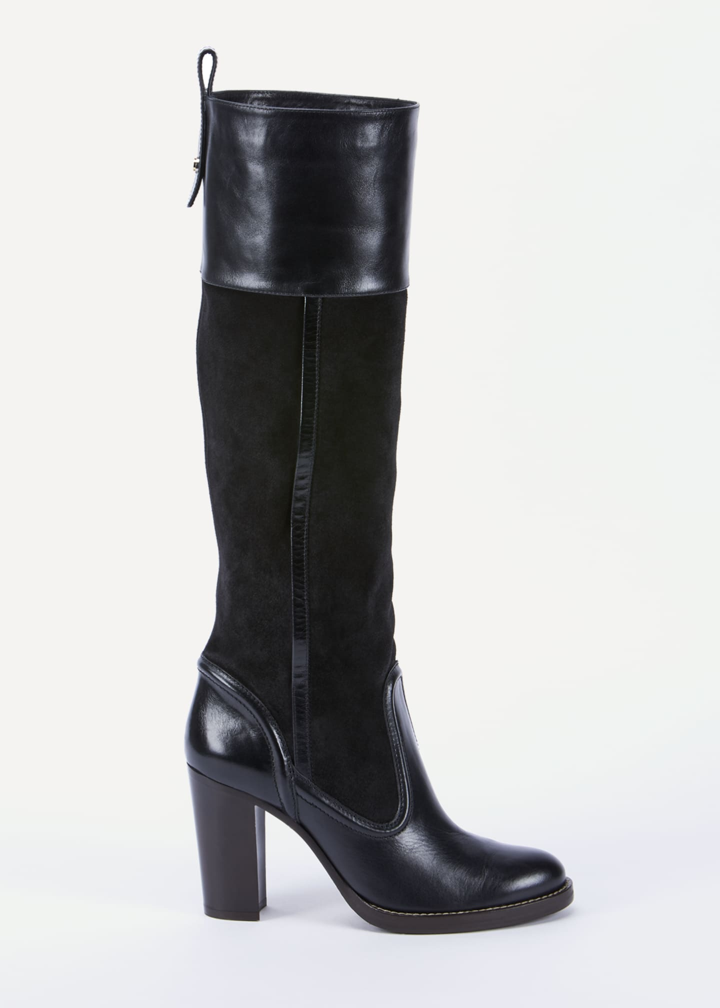 Image 1 of 4: Emma Mixed Leather Tall Boots