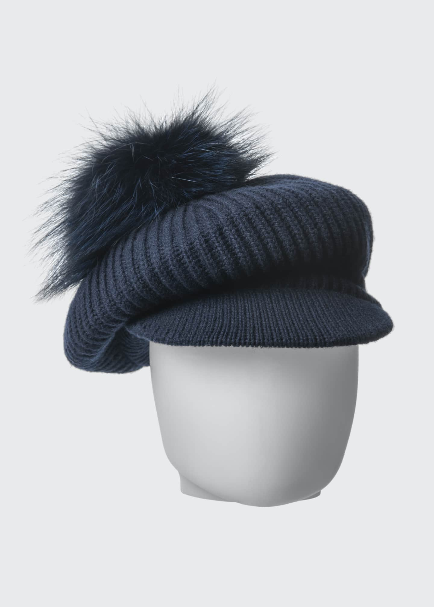 Image 2 of 3: Wool-Blend Slouchy Beanie with Visor & Fur Pompom, Navy