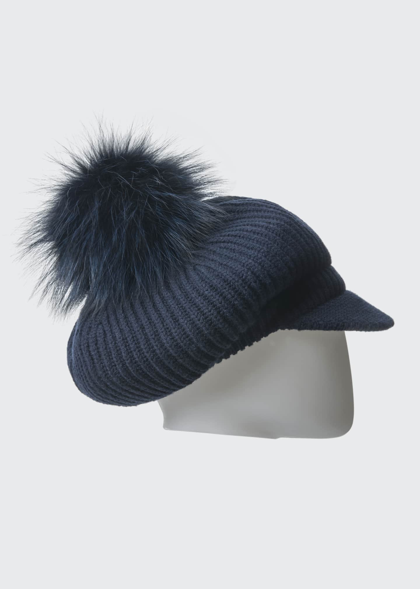 Image 3 of 3: Wool-Blend Slouchy Beanie with Visor & Fur Pompom, Navy