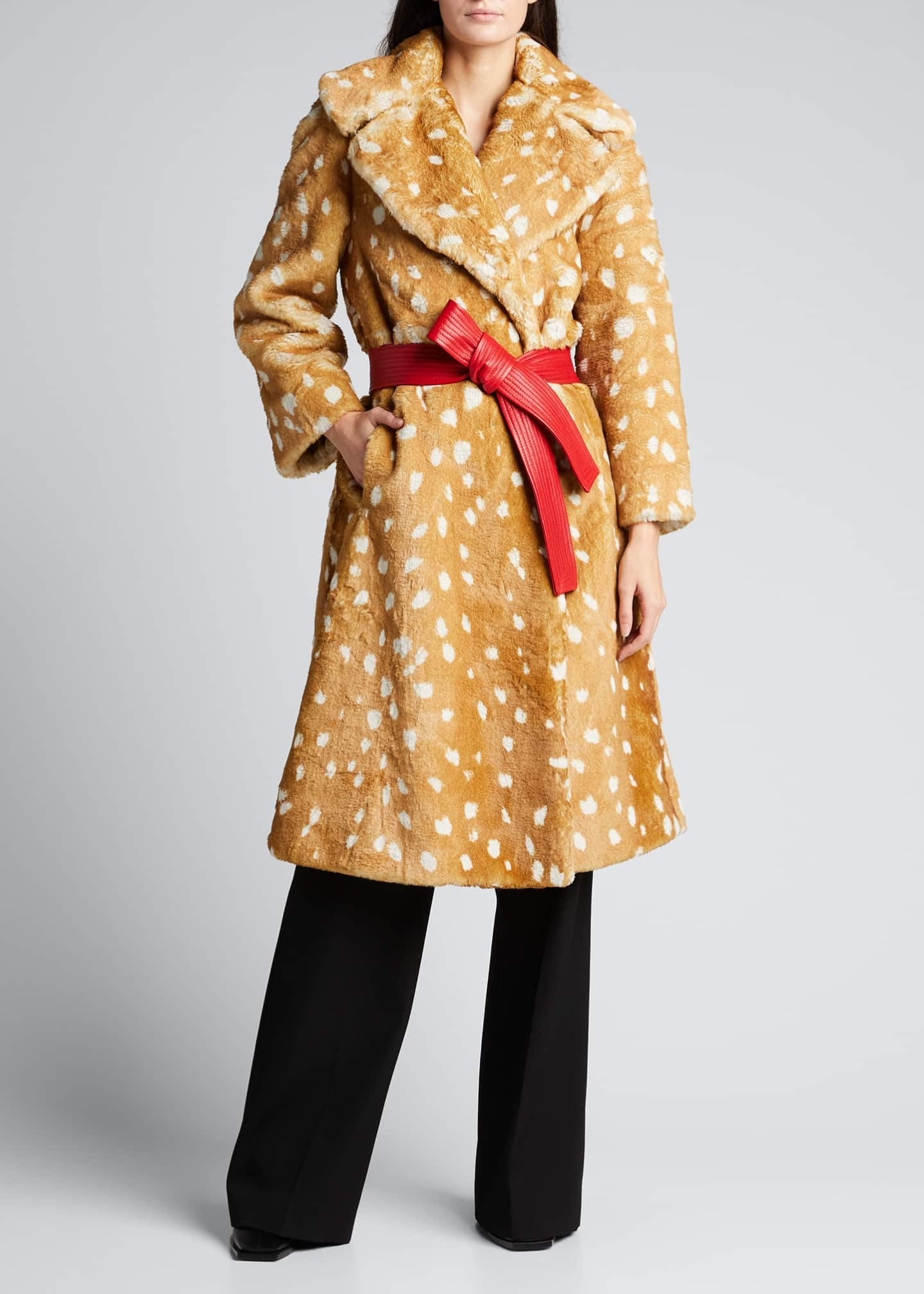 Image 3 of 5: The Faux Fur Fawn-Print Coat