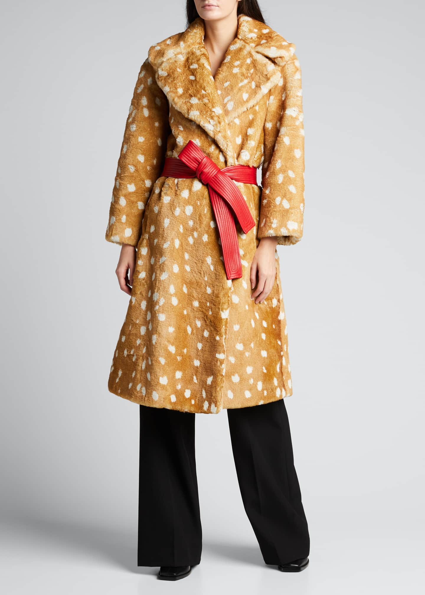 Image 1 of 5: The Faux Fur Fawn-Print Coat