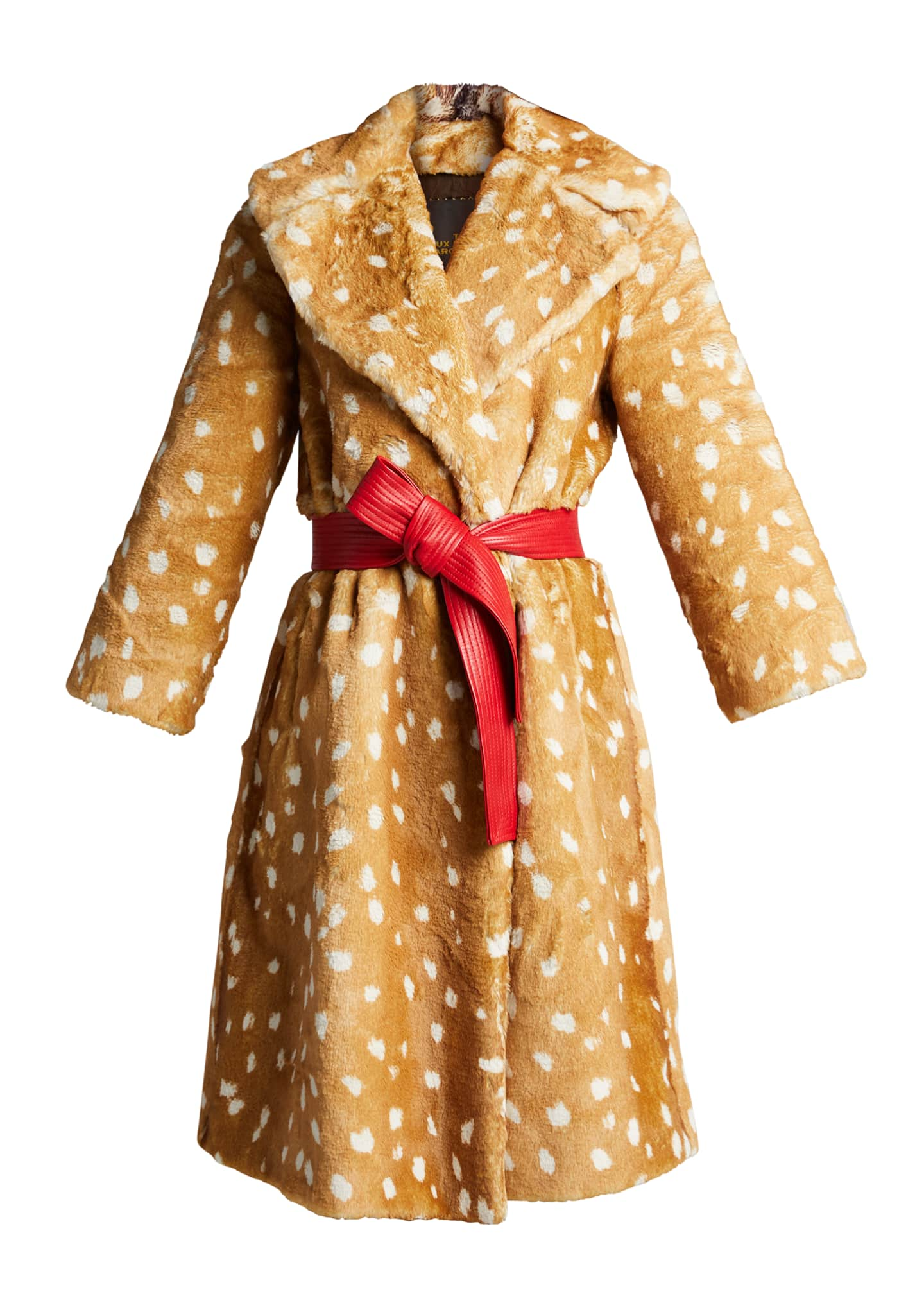Image 5 of 5: The Faux Fur Fawn-Print Coat
