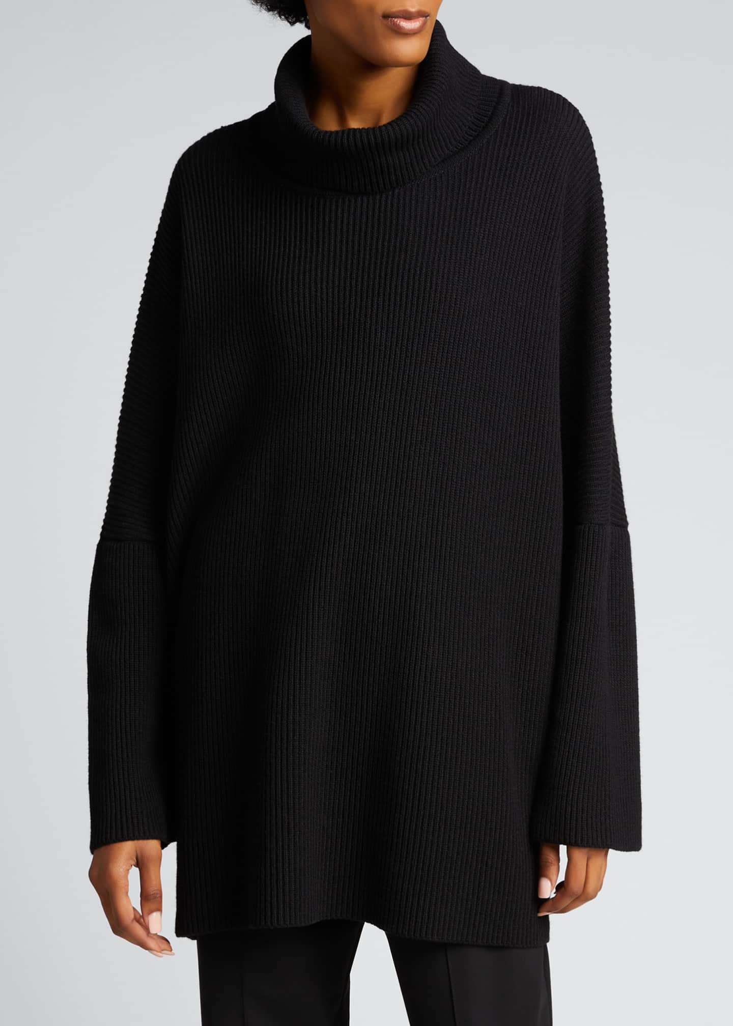 Image 3 of 5: Turtleneck Ribbed Silk-Cashmere Sweater