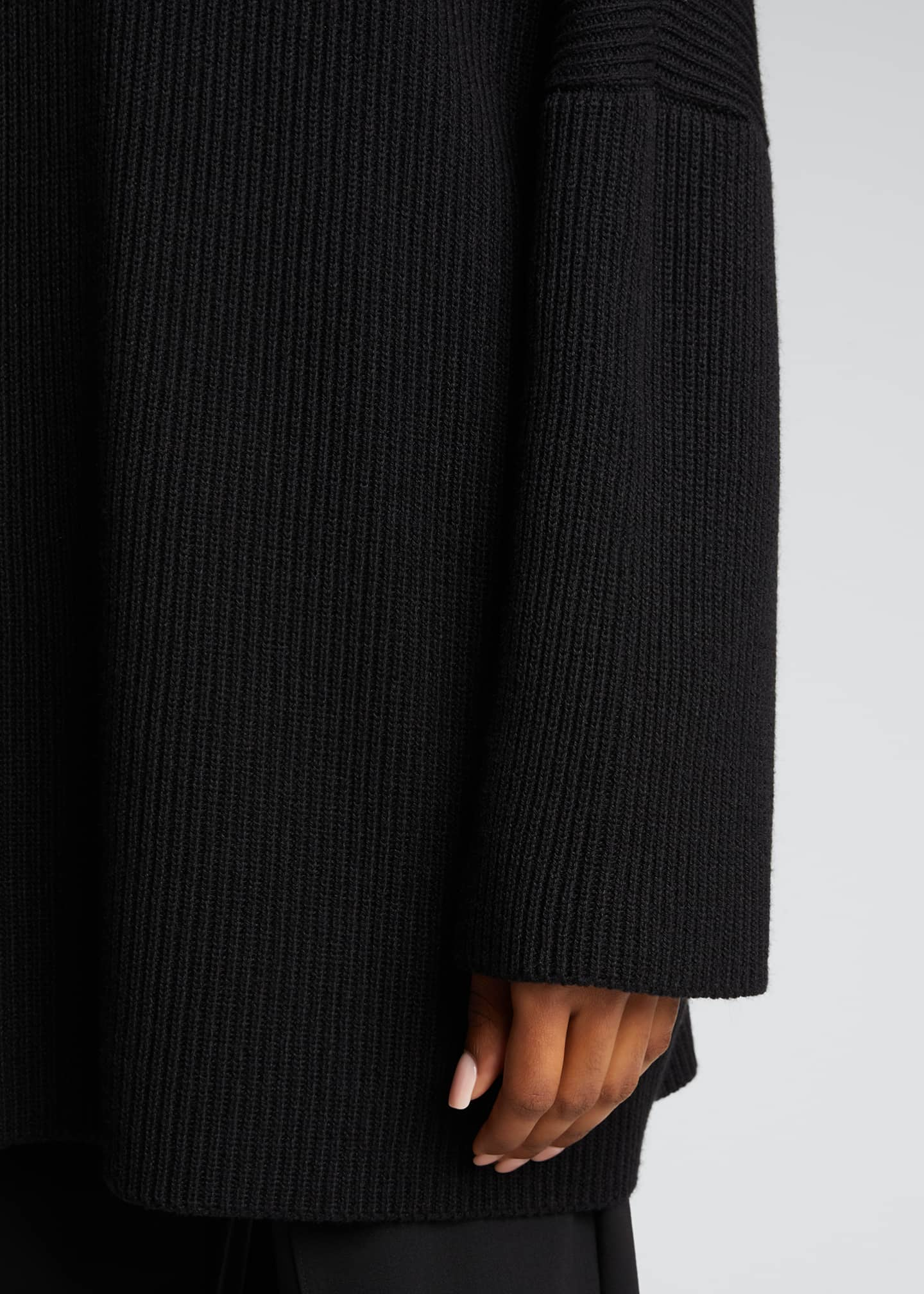 Image 4 of 5: Turtleneck Ribbed Silk-Cashmere Sweater