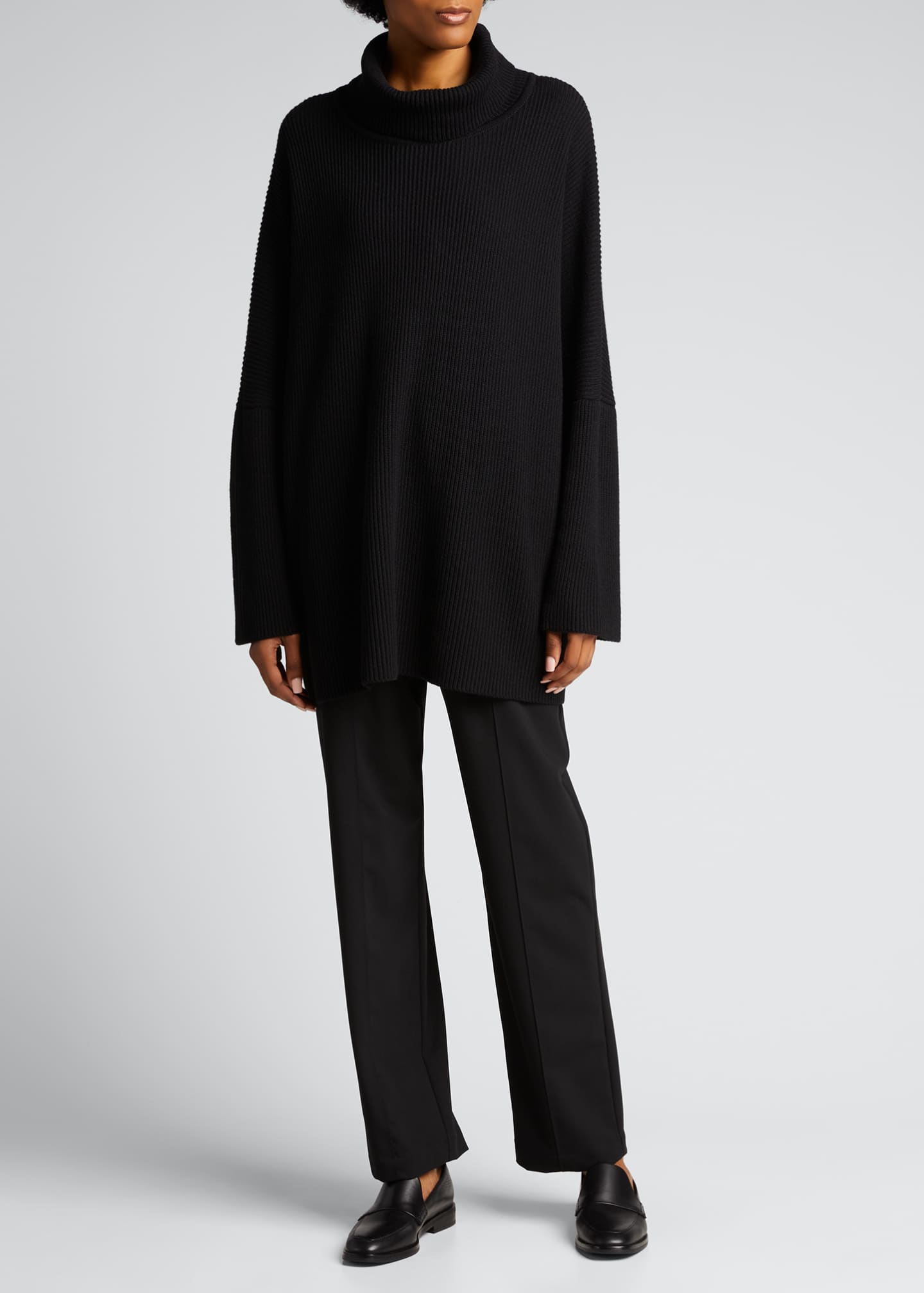 Image 1 of 5: Turtleneck Ribbed Silk-Cashmere Sweater