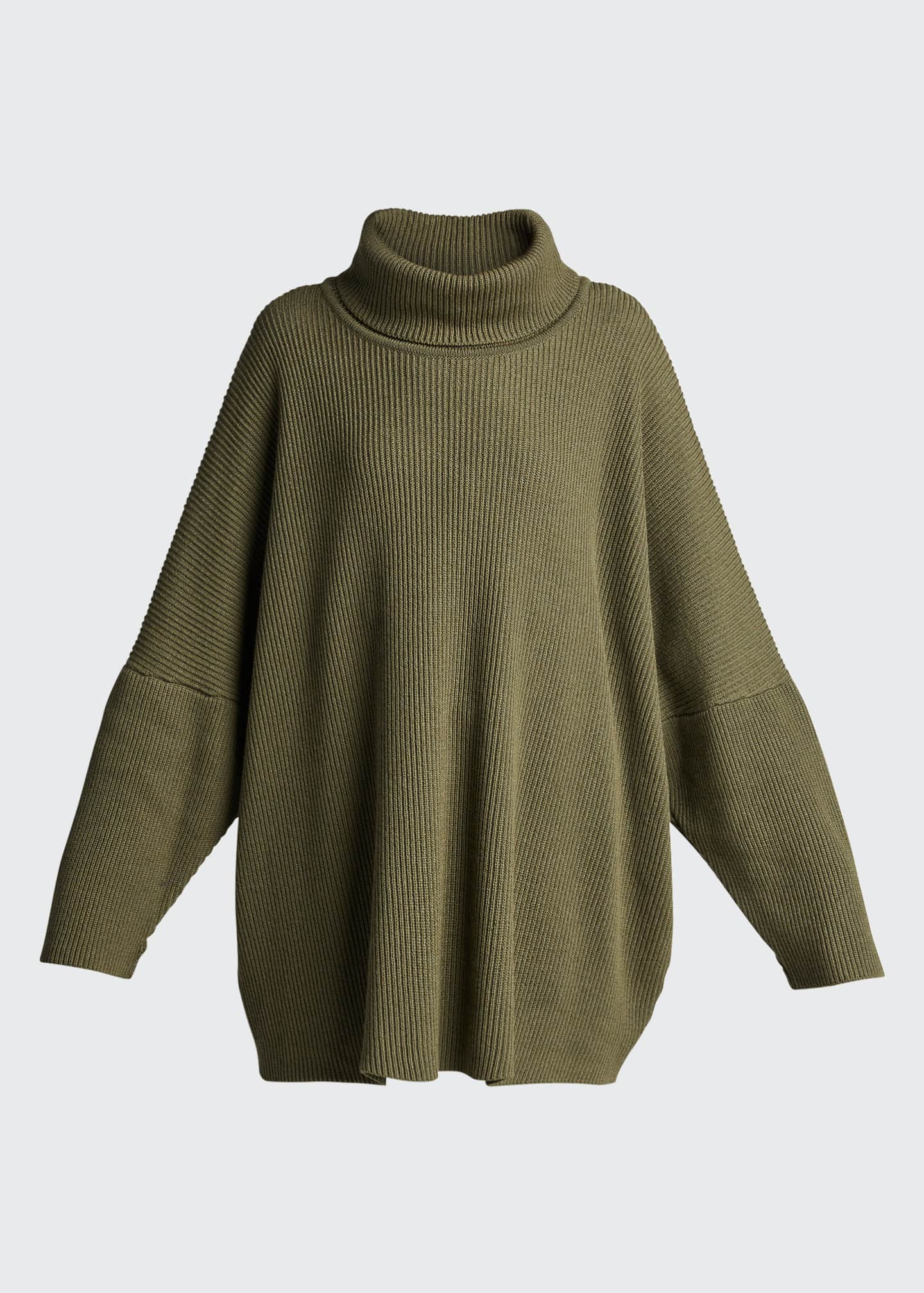 Image 5 of 5: Turtleneck Ribbed Silk-Cashmere Sweater