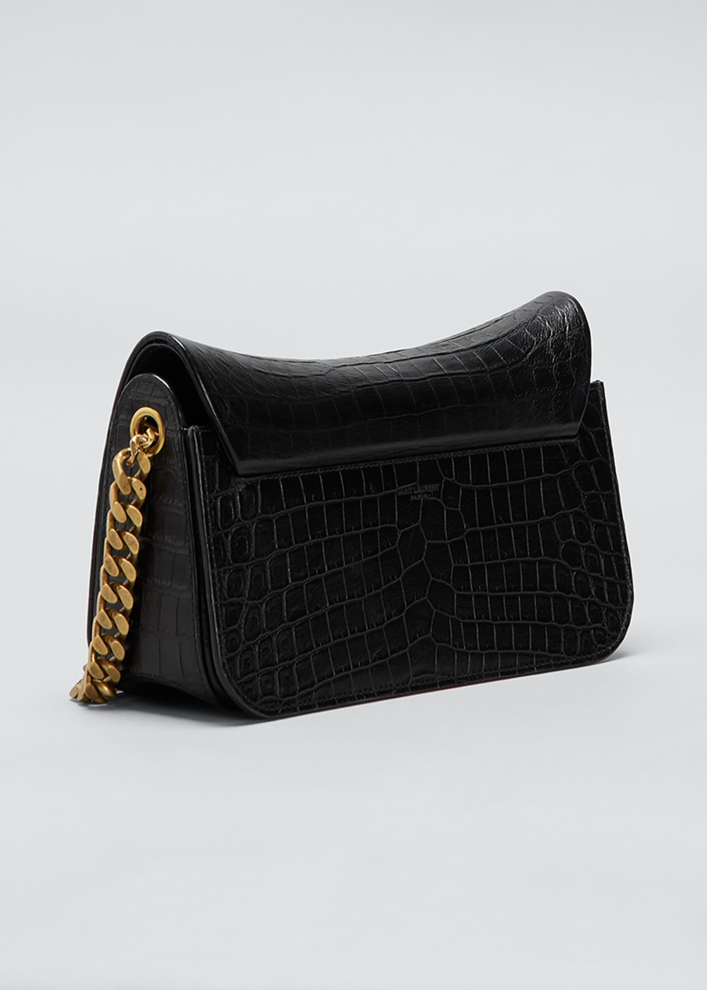 Image 3 of 5: Elise Lacquered Alligator-Embossed Shoulder Bag