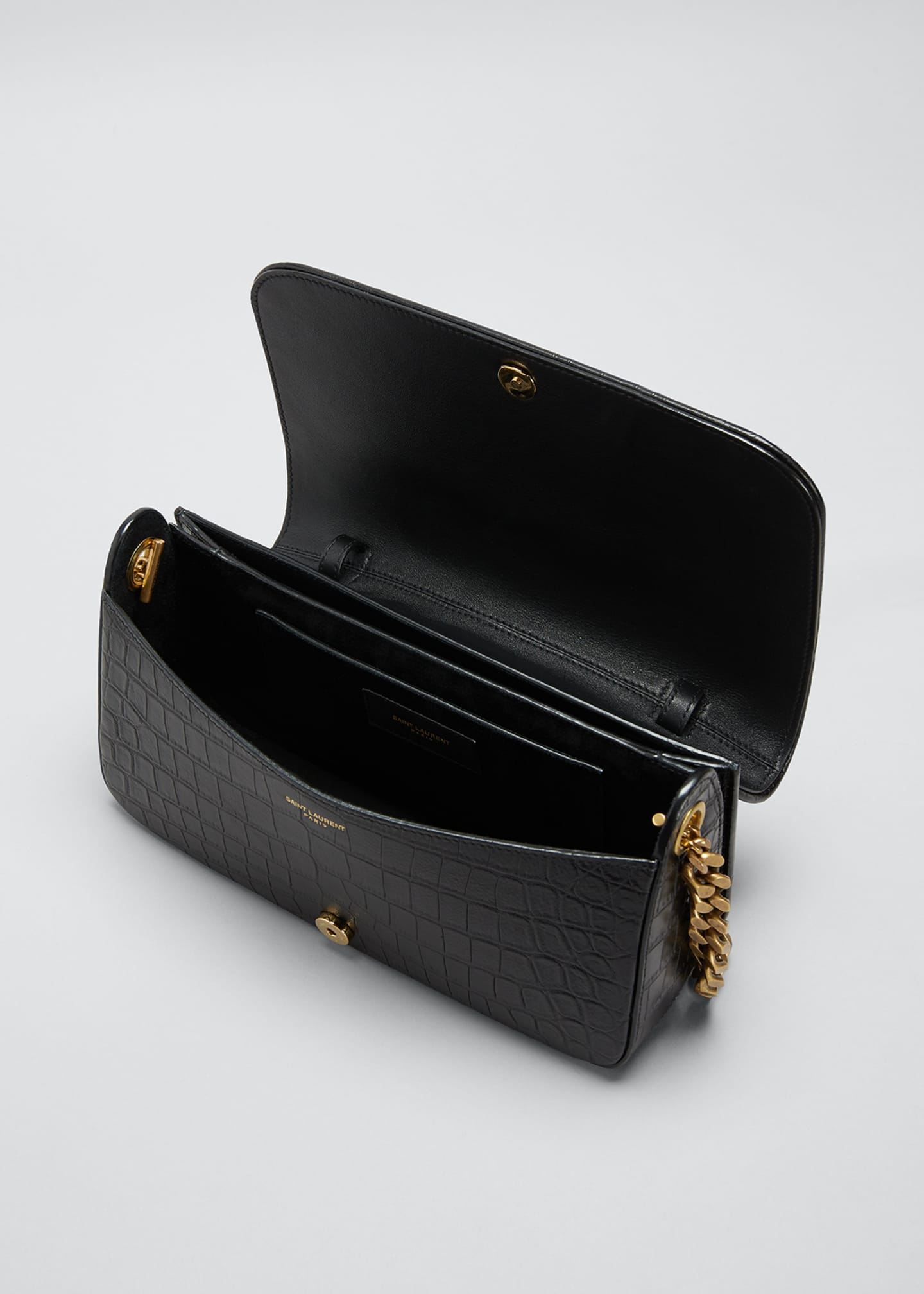 Image 4 of 5: Elise Lacquered Alligator-Embossed Shoulder Bag