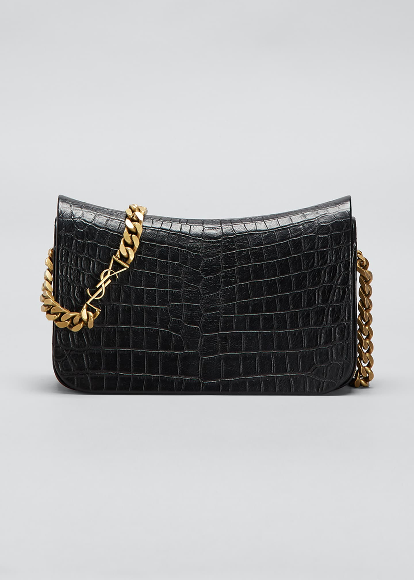 Image 1 of 5: Elise Lacquered Alligator-Embossed Shoulder Bag
