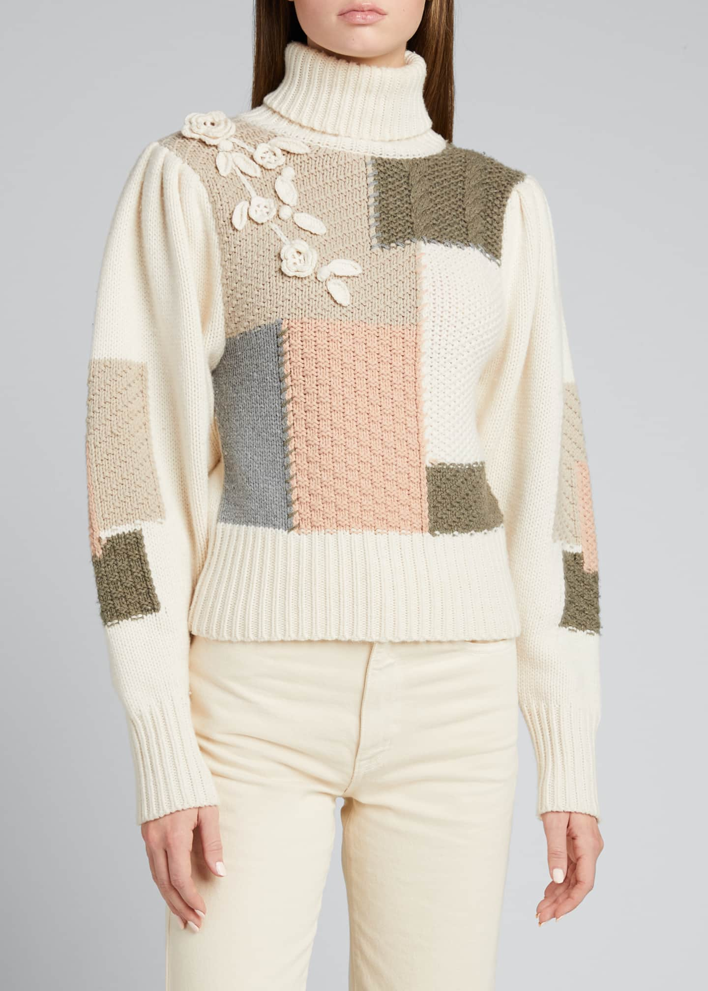 Image 3 of 5: Allan Patchwork Floral Applique Knit Sweater