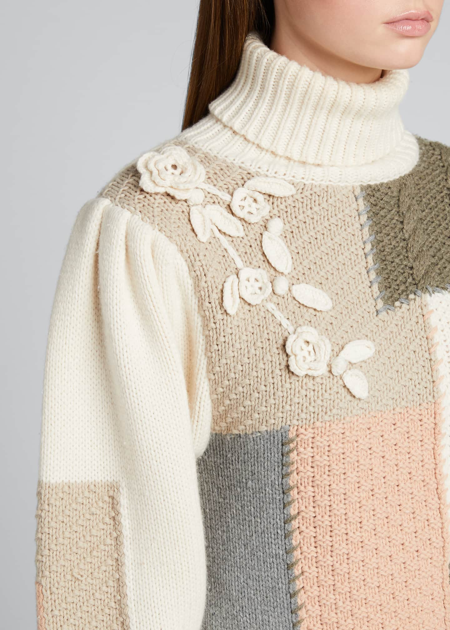 Image 4 of 5: Allan Patchwork Floral Applique Knit Sweater