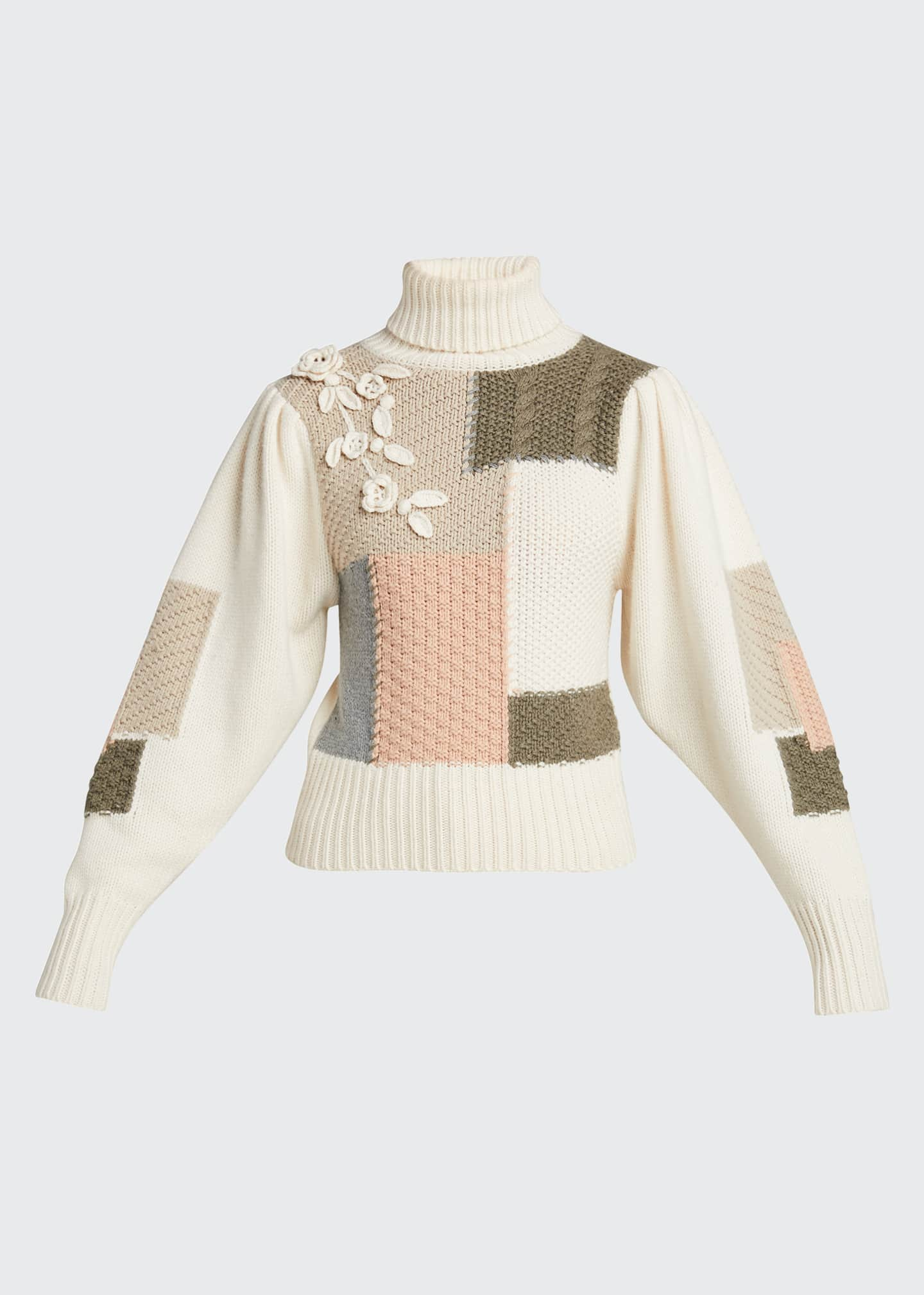 Image 5 of 5: Allan Patchwork Floral Applique Knit Sweater