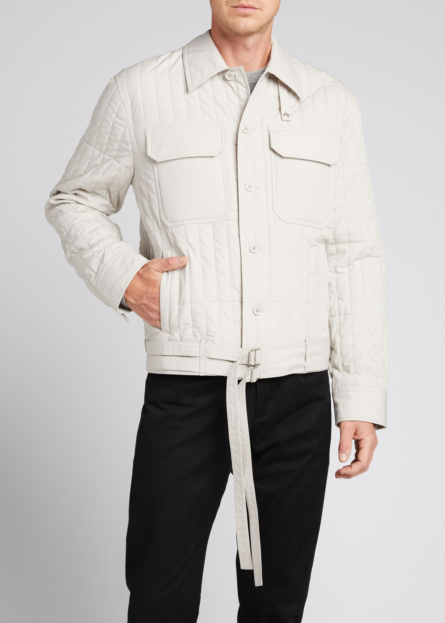 Image 3 of 5: Men's Quilted Jacket with Belt