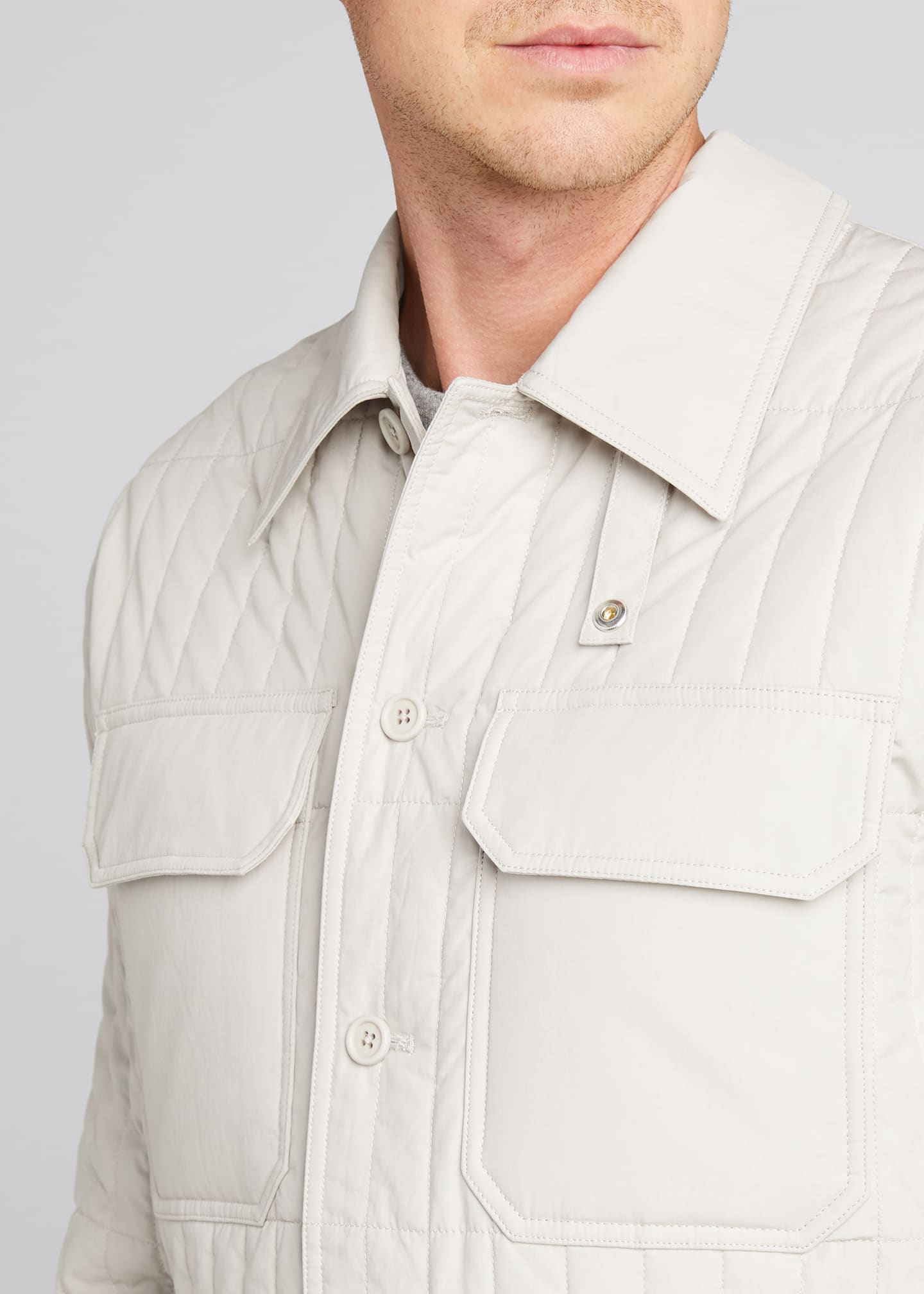 Image 4 of 5: Men's Quilted Jacket with Belt