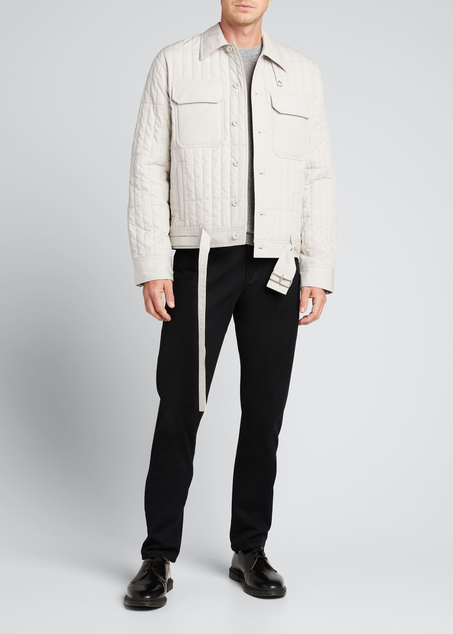 Image 1 of 5: Men's Quilted Jacket with Belt