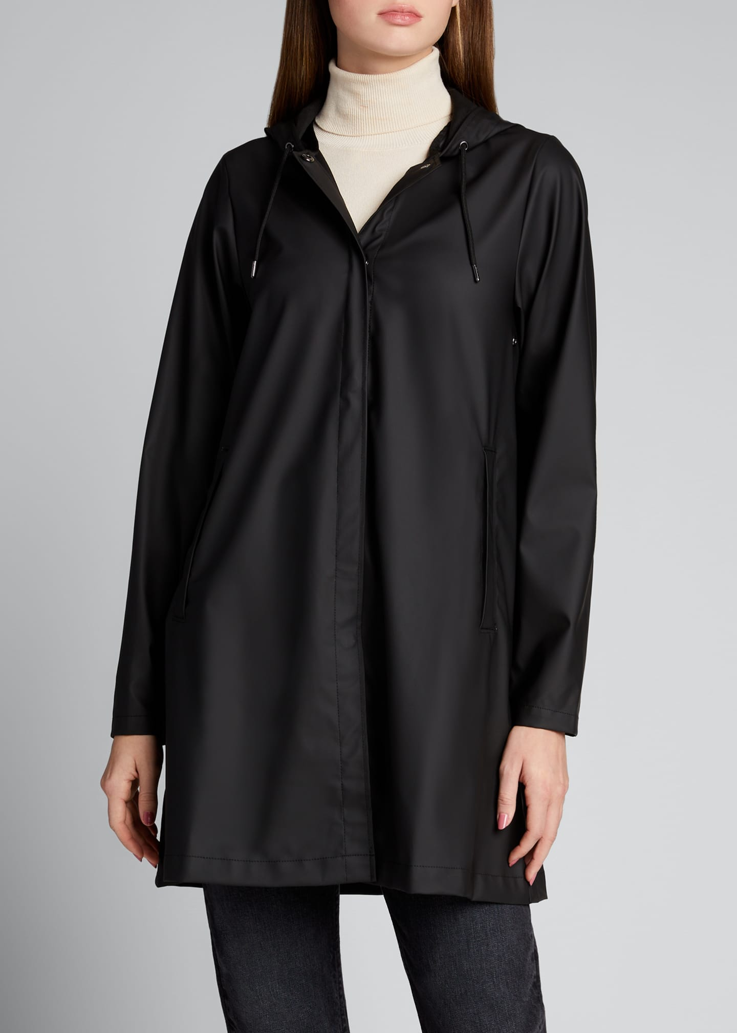 Image 3 of 5: Hooded A-Line Raincoat