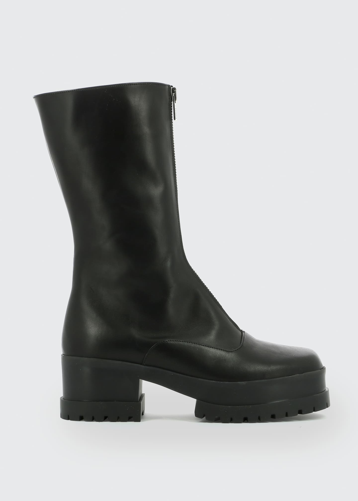 Image 1 of 3: Wallie Leather Zip Platform Boots