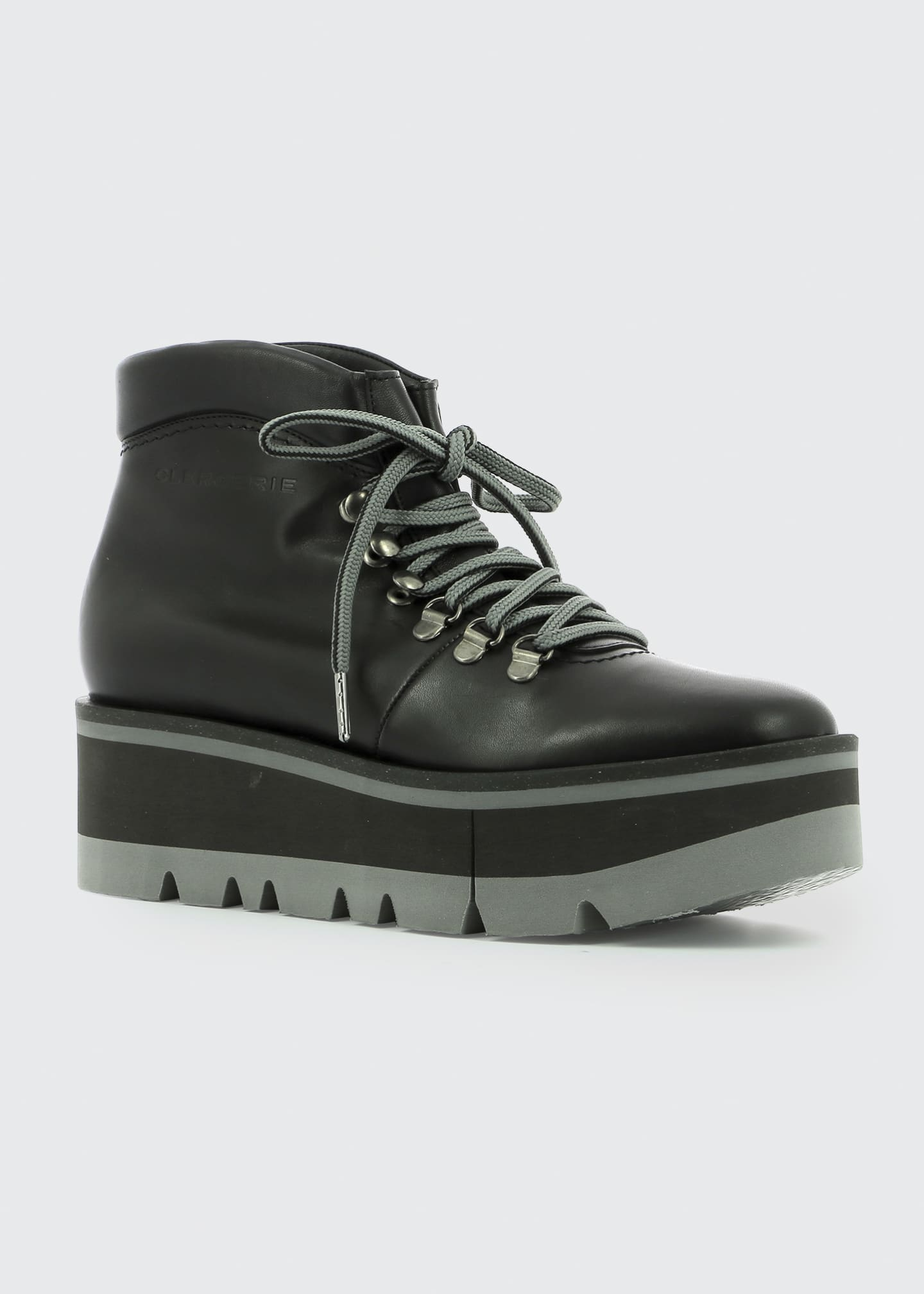 Image 2 of 3: Bubble Leather Platform Hiker Booties