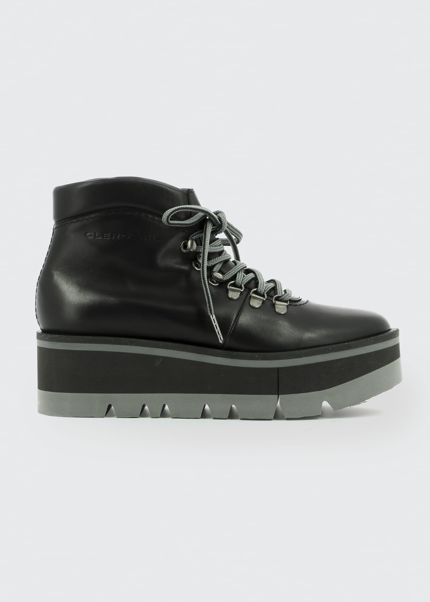 Image 1 of 3: Bubble Leather Platform Hiker Booties