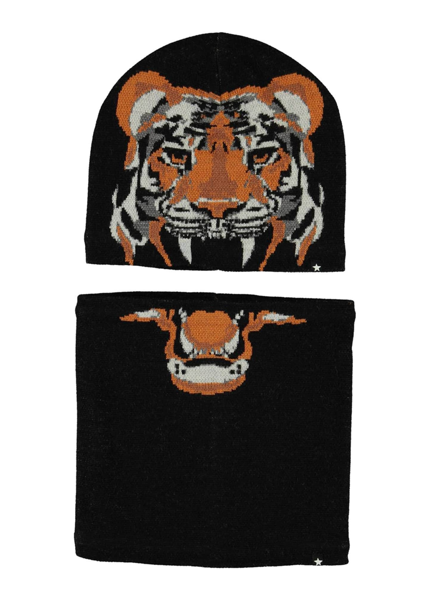 Image 1 of 3: Boy's Kleo Tiger Intarsia Hat & Scarf Set, Size S-L