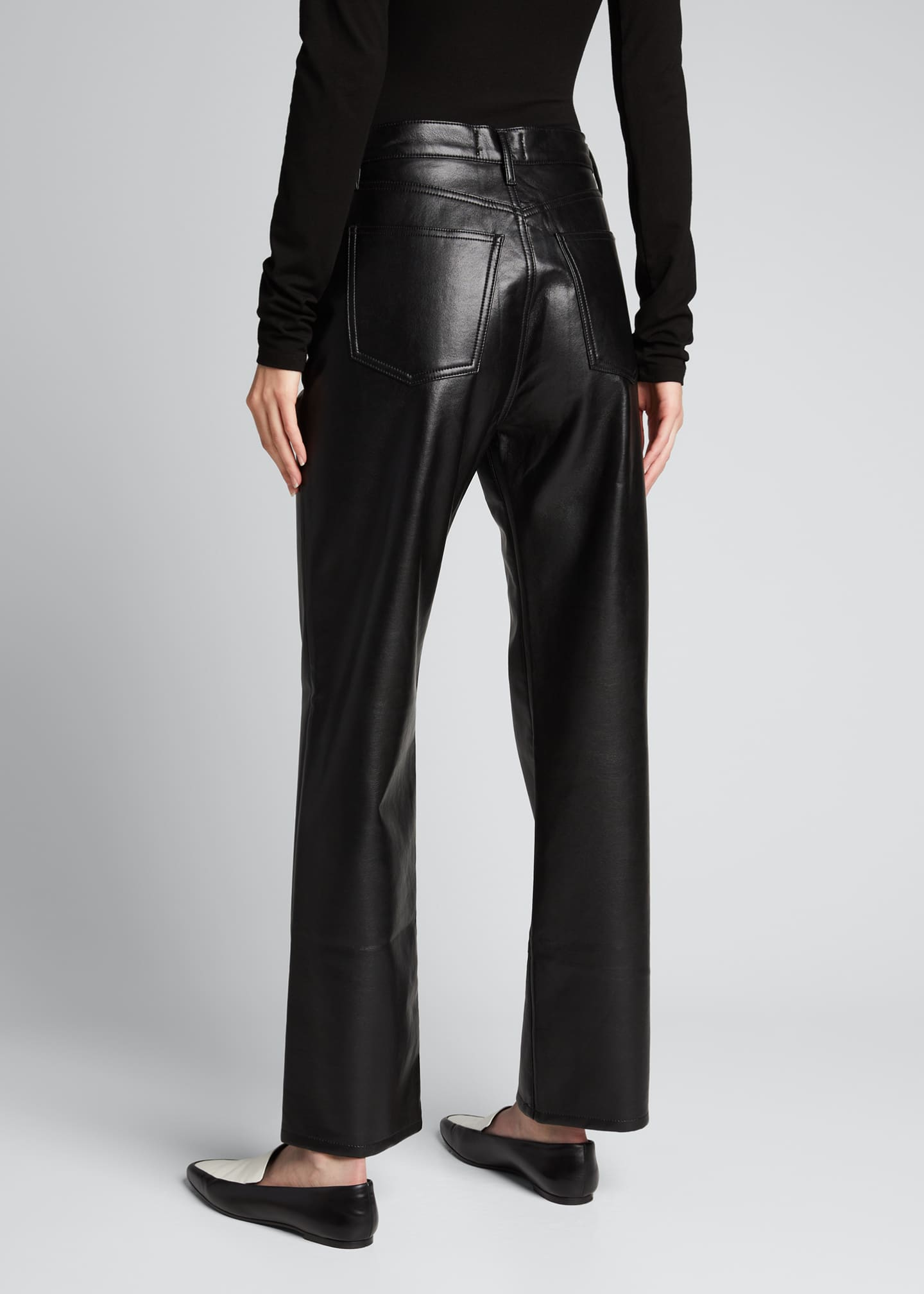 Image 2 of 5: 90s Recycled Leather Pinched-Waist Pants