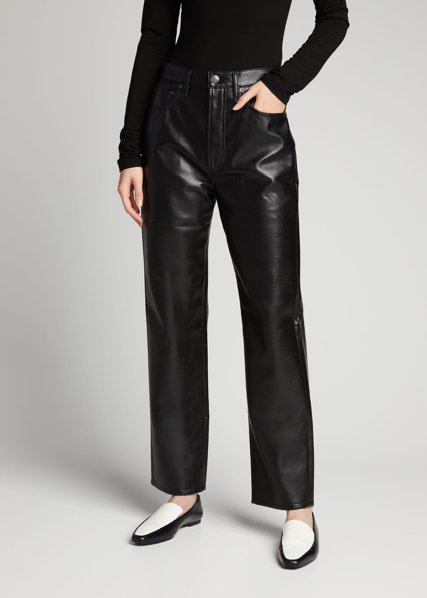 Image 3 of 5: 90s Recycled Leather Pinched-Waist Pants