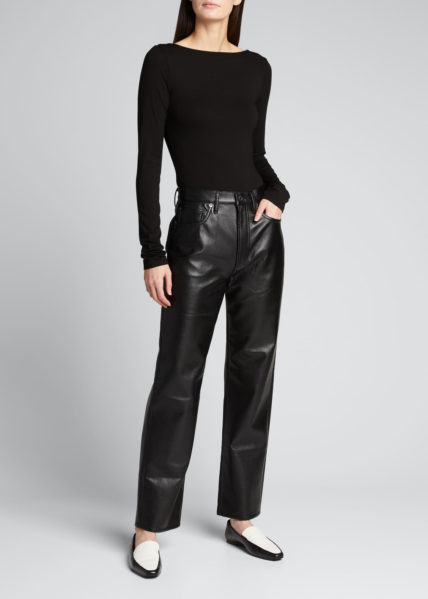 Image 1 of 5: 90s Recycled Leather Pinched-Waist Pants
