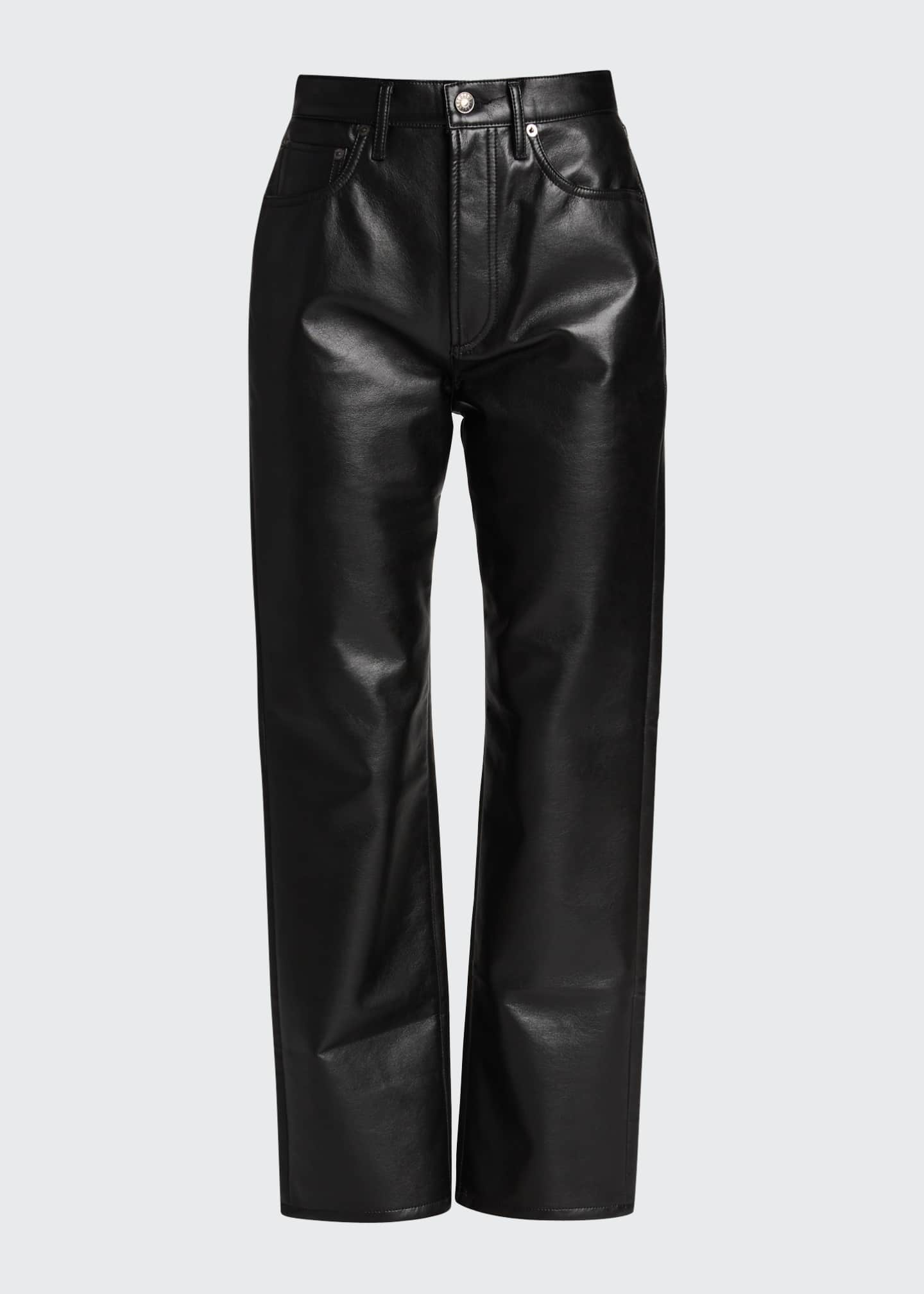 Image 5 of 5: 90s Recycled Leather Pinched-Waist Pants