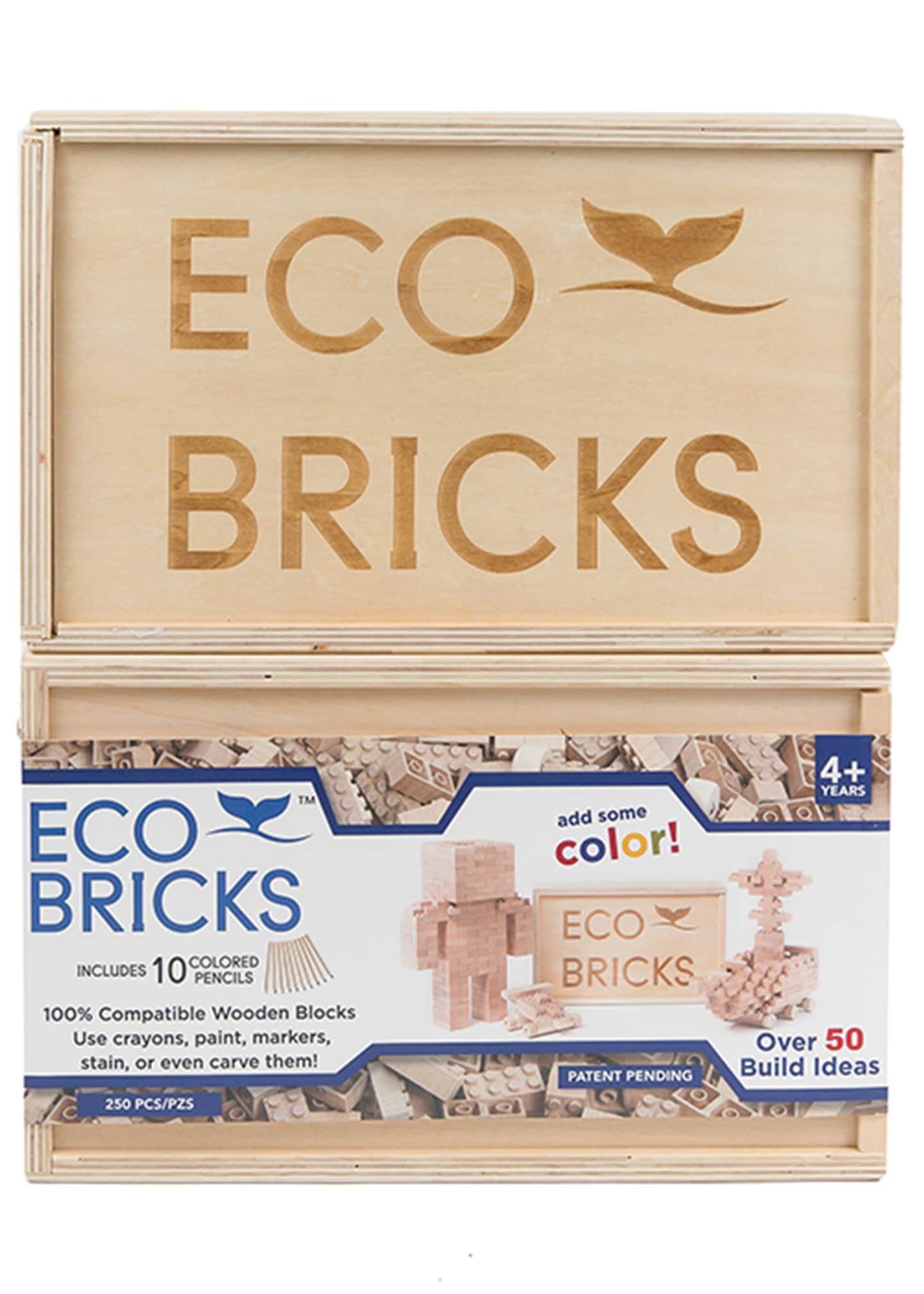 Image 3 of 3: Eco-Bricks 250 Piece Wooden Block Set