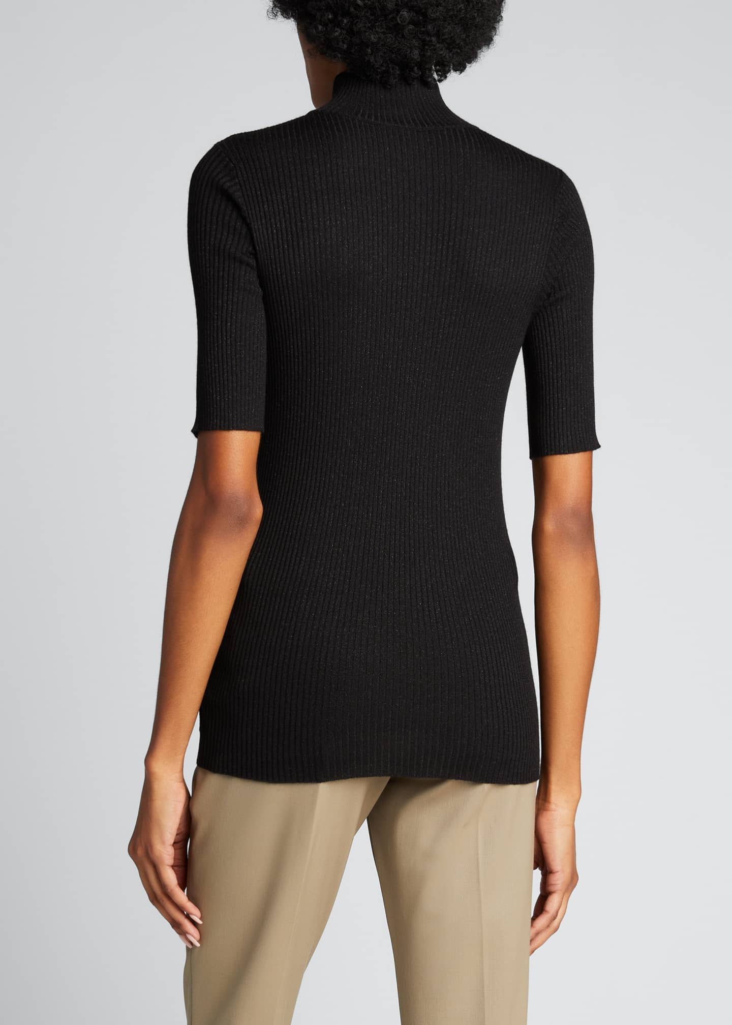 Image 2 of 5: Ribbed Lurex Fine Gauge Cashmere Sweater