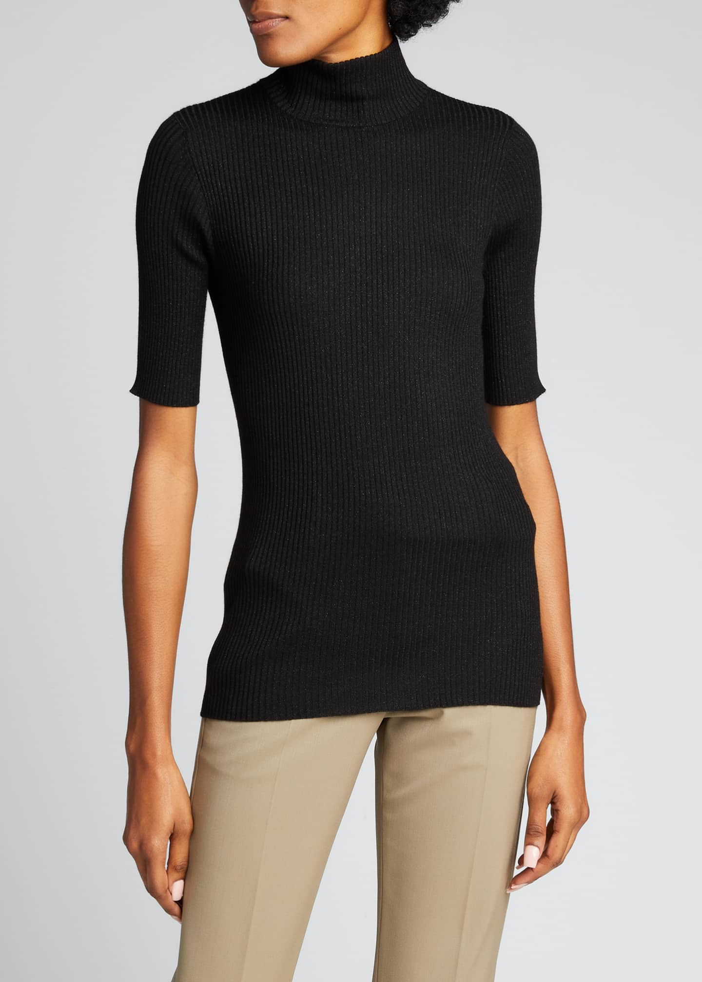 Image 3 of 5: Ribbed Lurex Fine Gauge Cashmere Sweater