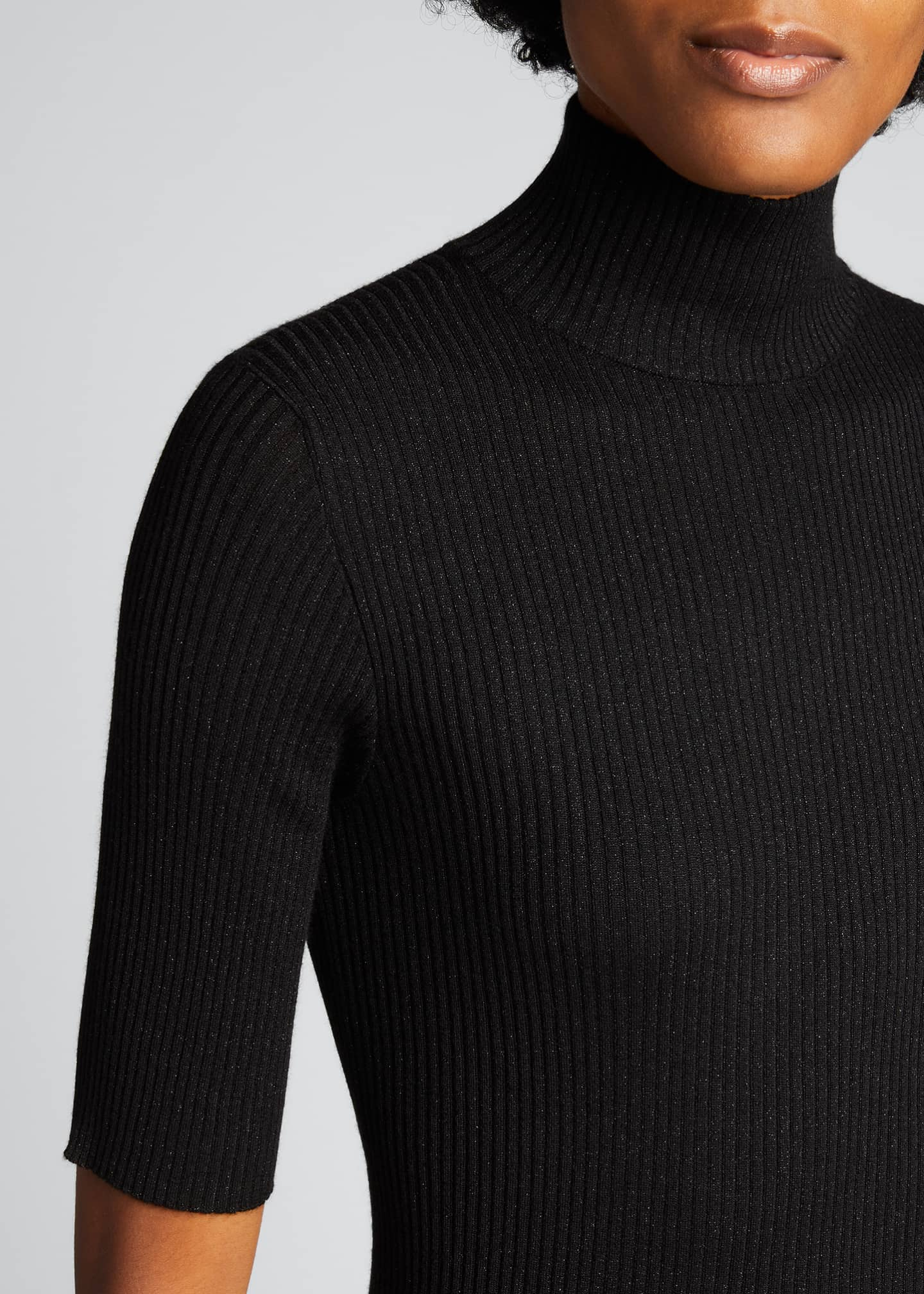 Image 4 of 5: Ribbed Lurex Fine Gauge Cashmere Sweater