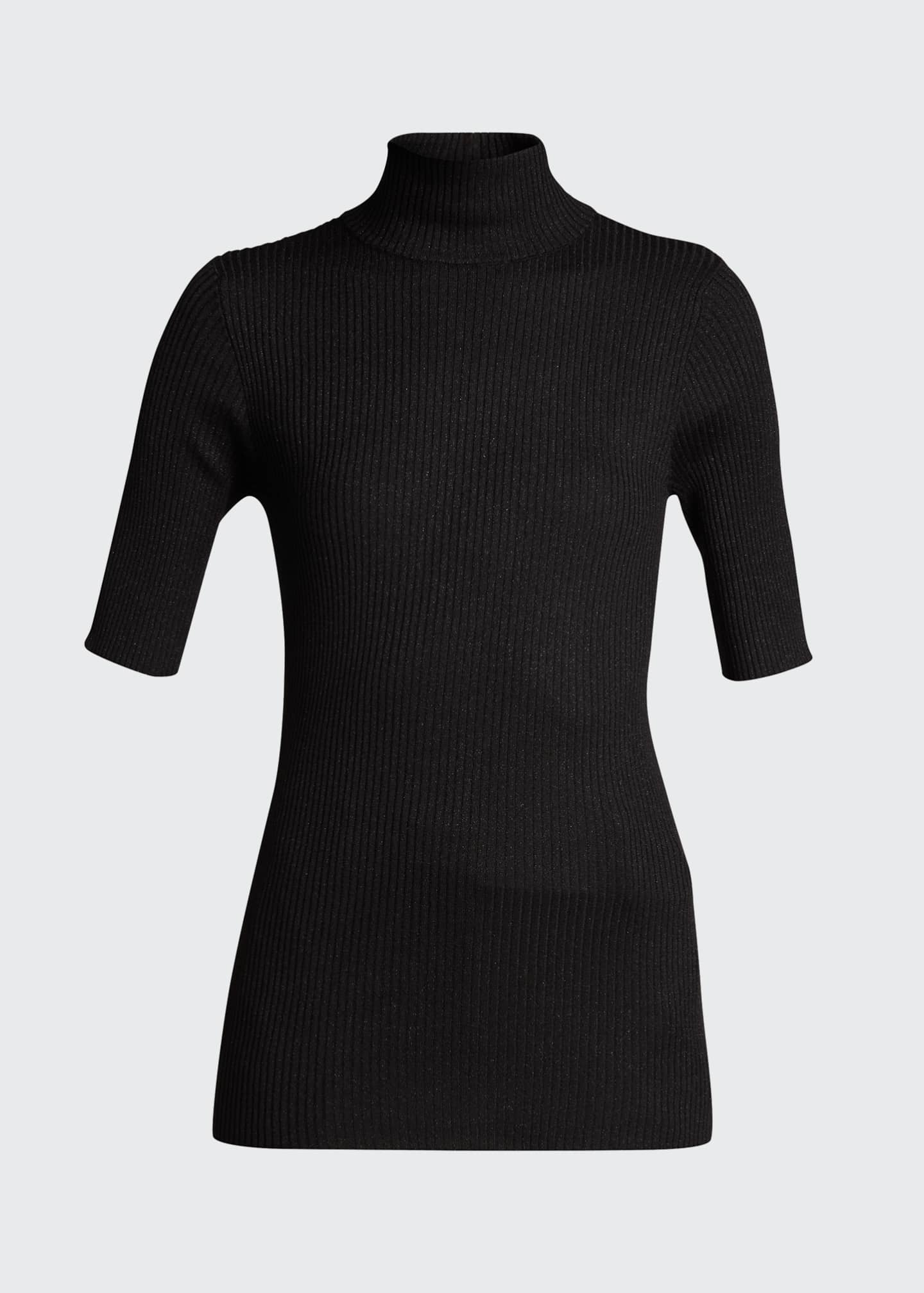 Image 5 of 5: Ribbed Lurex Fine Gauge Cashmere Sweater