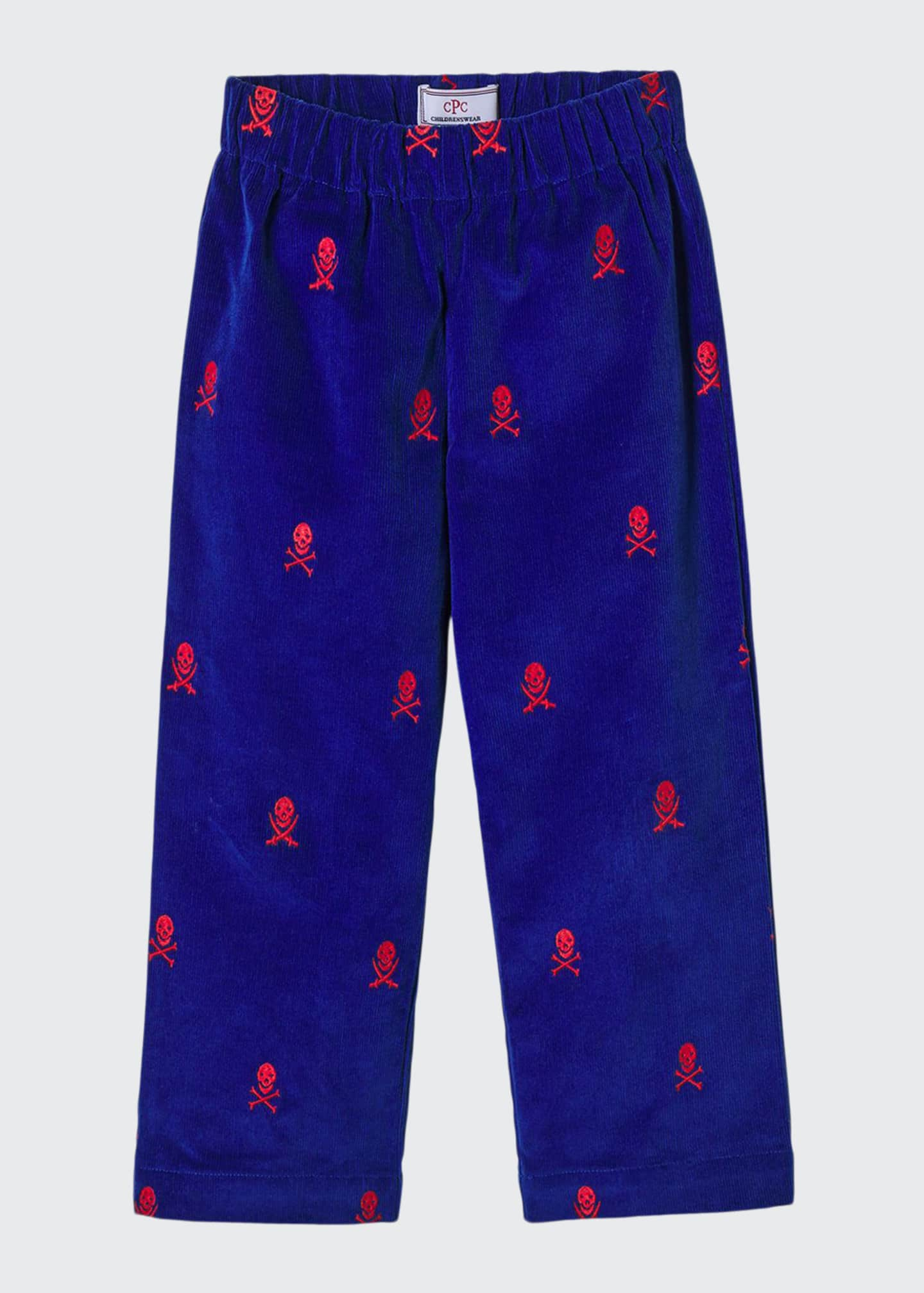 Image 1 of 1: Boy's Myles Embroidered Corduroy Pants, Size 9M-4