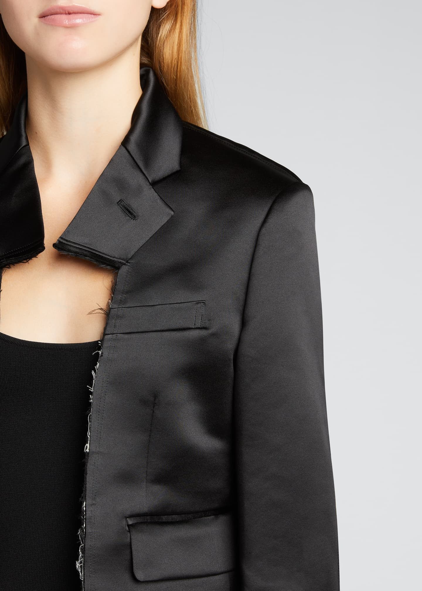 Image 4 of 5: Cropped Satin Blazer