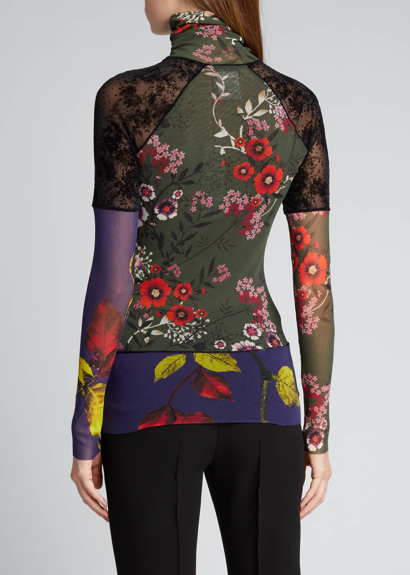 Image 2 of 5: Patchwork Long Sleeve Turtleneck Top