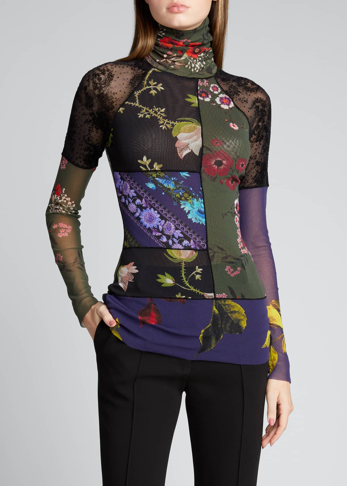 Image 3 of 5: Patchwork Long Sleeve Turtleneck Top